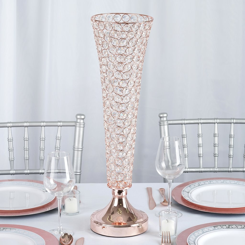 2 Rose Gold Metal 24 Tall Faux Crystal Beaded Trumpet Vases Wedding Centerpiece Ebay