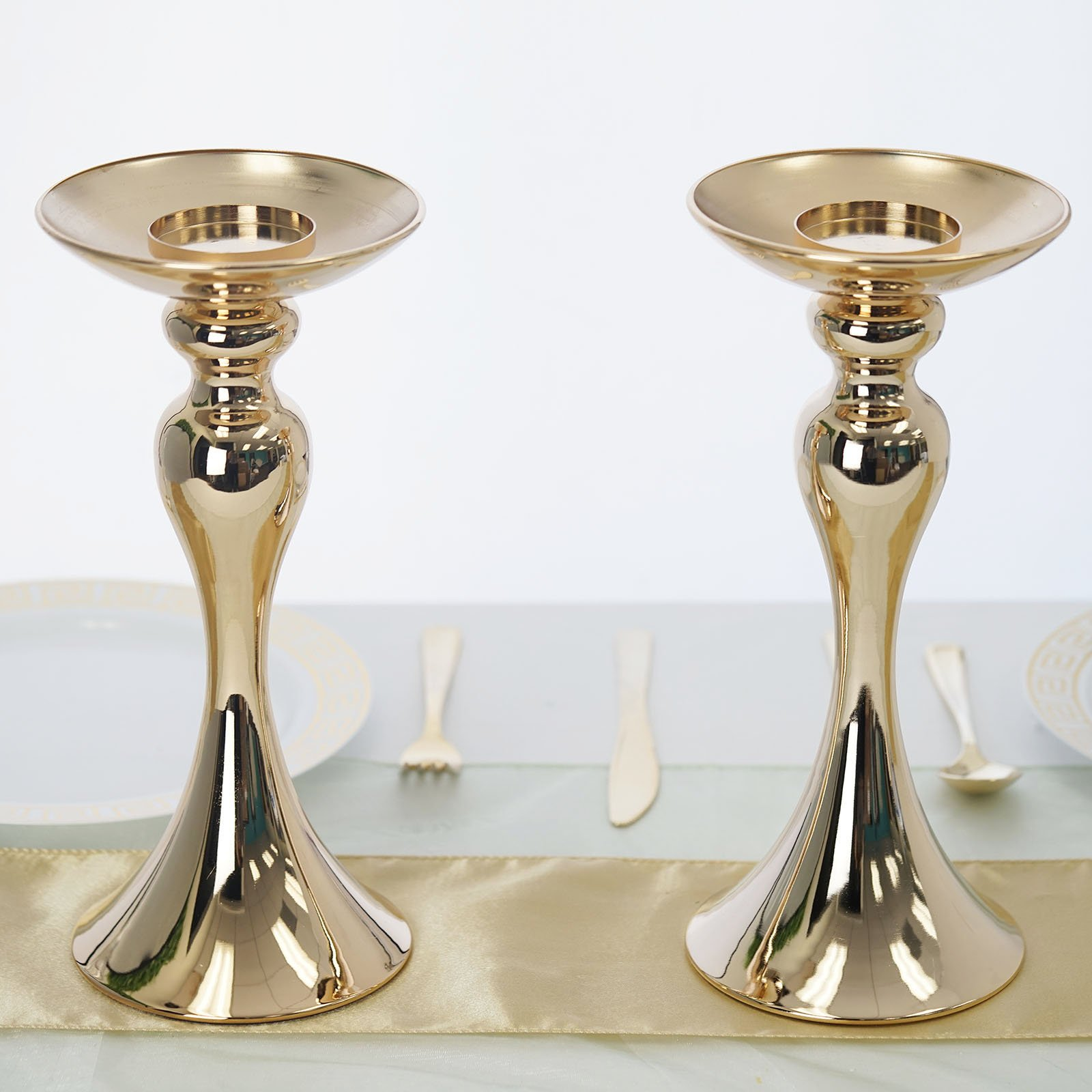 2 Gold Metal 12 Tall Pillar Candle Holders Risers Wedding Party Centerpieces Ebay