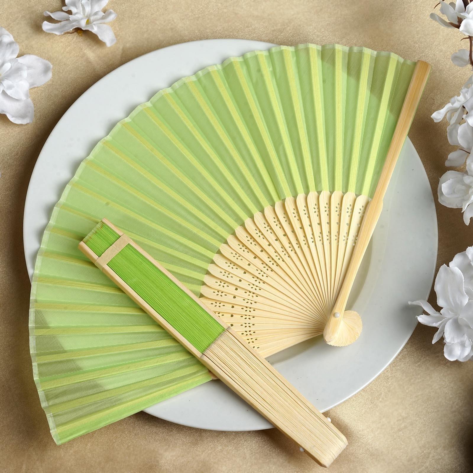 Apple Green Silk Folding Fans Summer Wedding Party Favors Gift