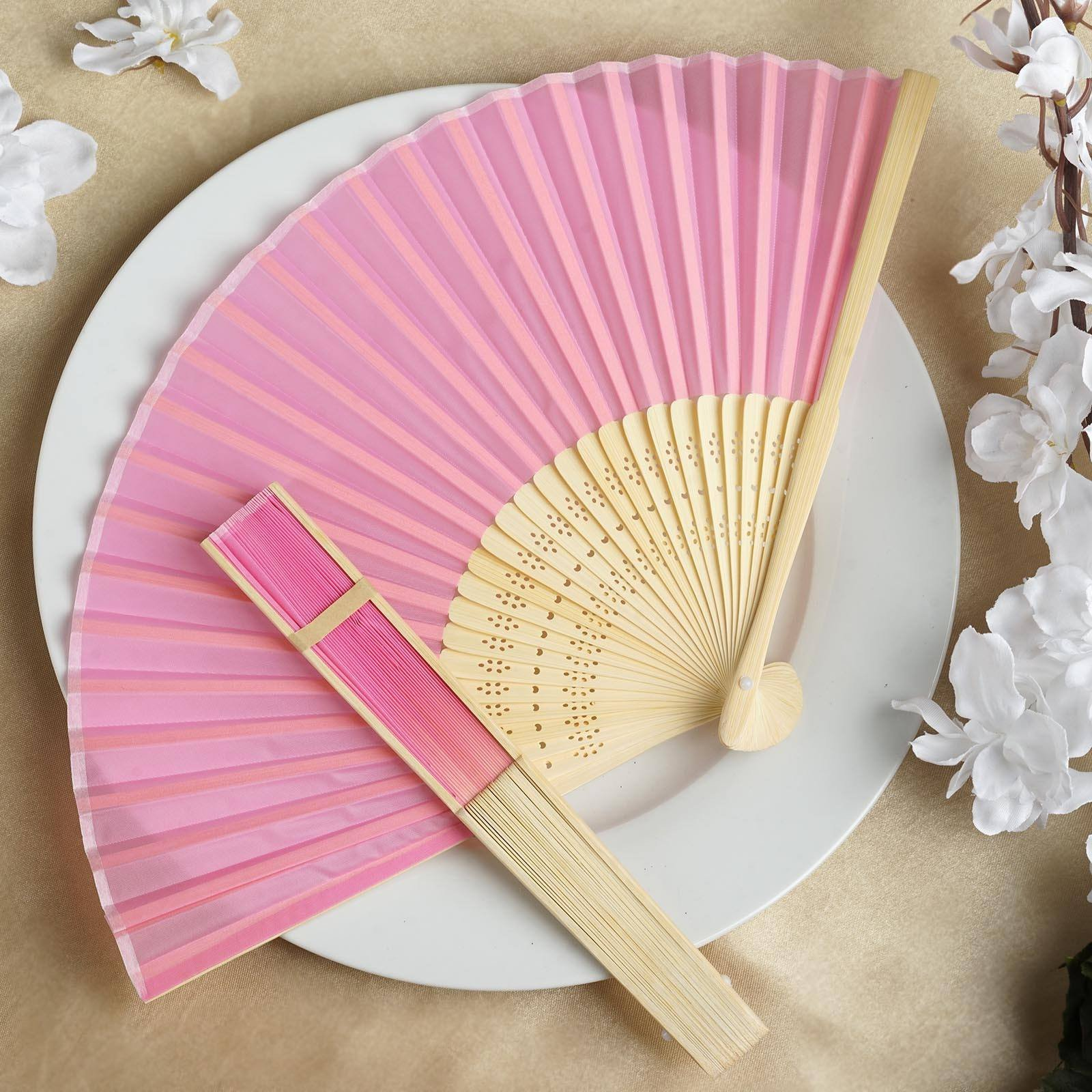 Pink SILK FOLDING FANS Summer Wedding Party FAVORS Gift Decorations ...