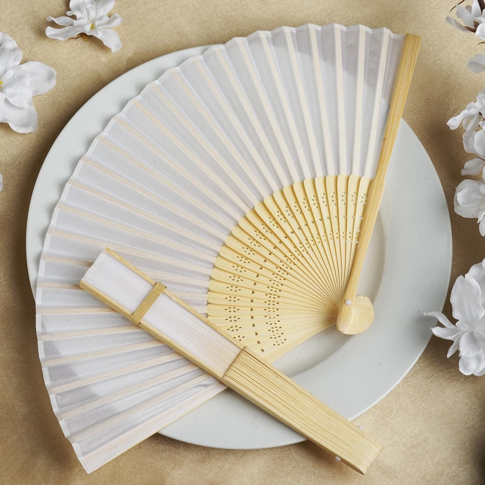 White SILK FOLDING FANS Summer Wedding Party FAVORS Gift Decorations ...