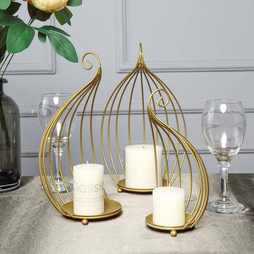 Details About Gold Metal Candle Holders Half Lanterns Wedding Centerpieces Party Birthday