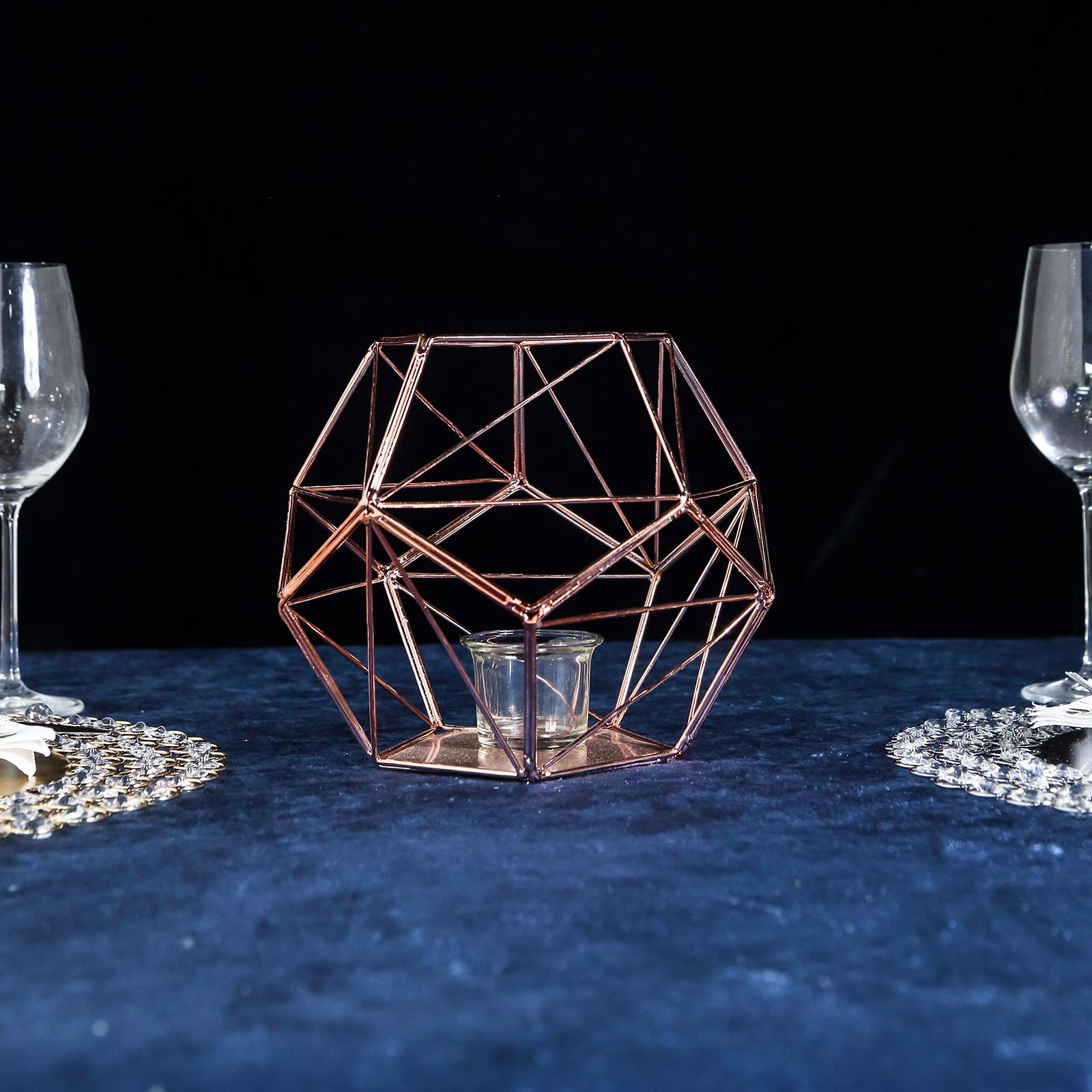 Rose Gold 7 Tall Geometric Candle Holder Metal Vase Home Wedding Centerpieces Ebay