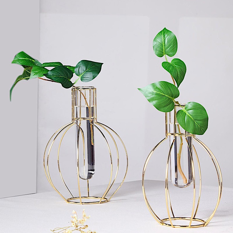 eBay & Details about 2 GOLD Geometric Round Flasks with Clear Glass Tubes Wedding Flower Vase Holders