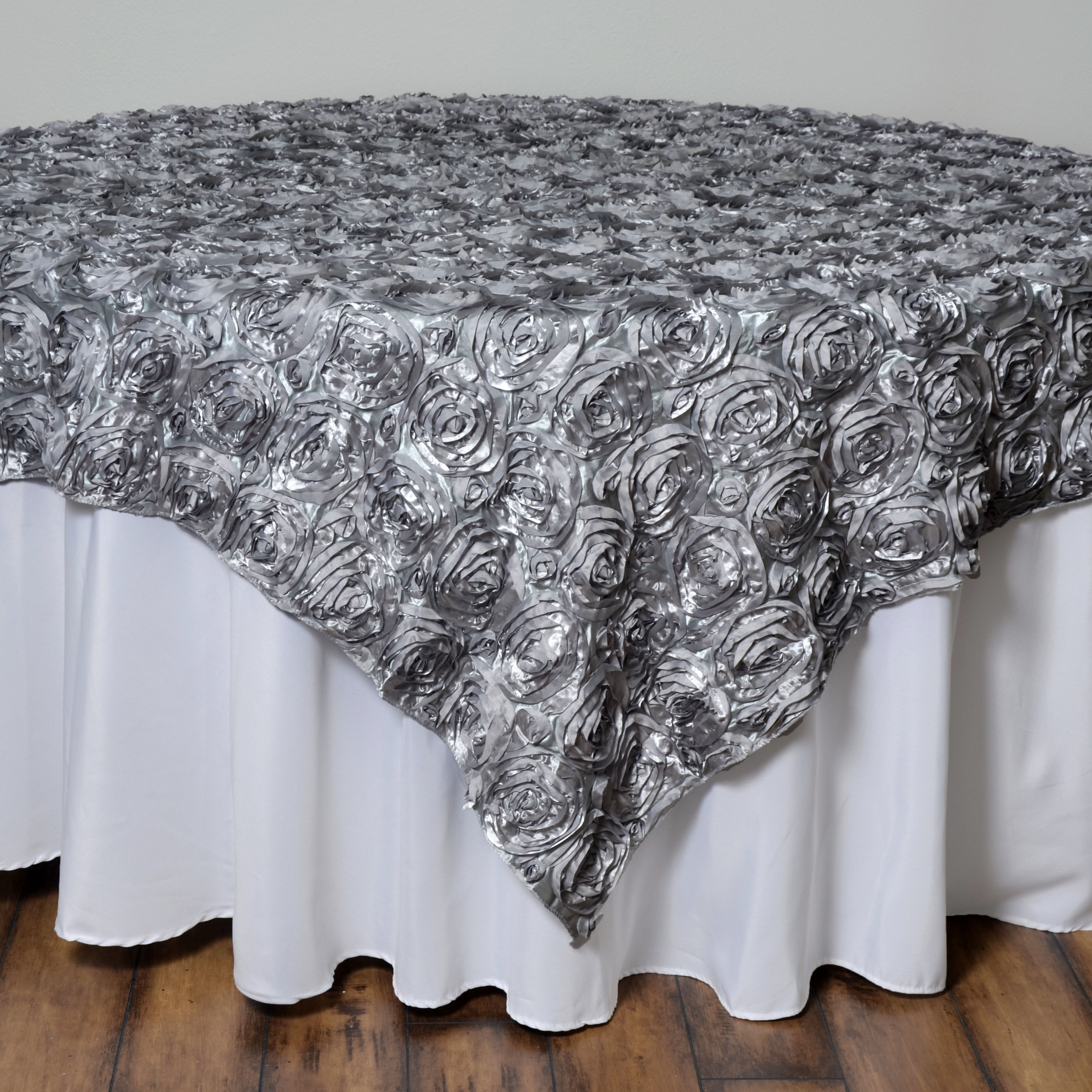Round Table Overlays.Details About 72x72 Silver Satin Raised Roses Table Overlays Unique Wedding Party Linens Sale