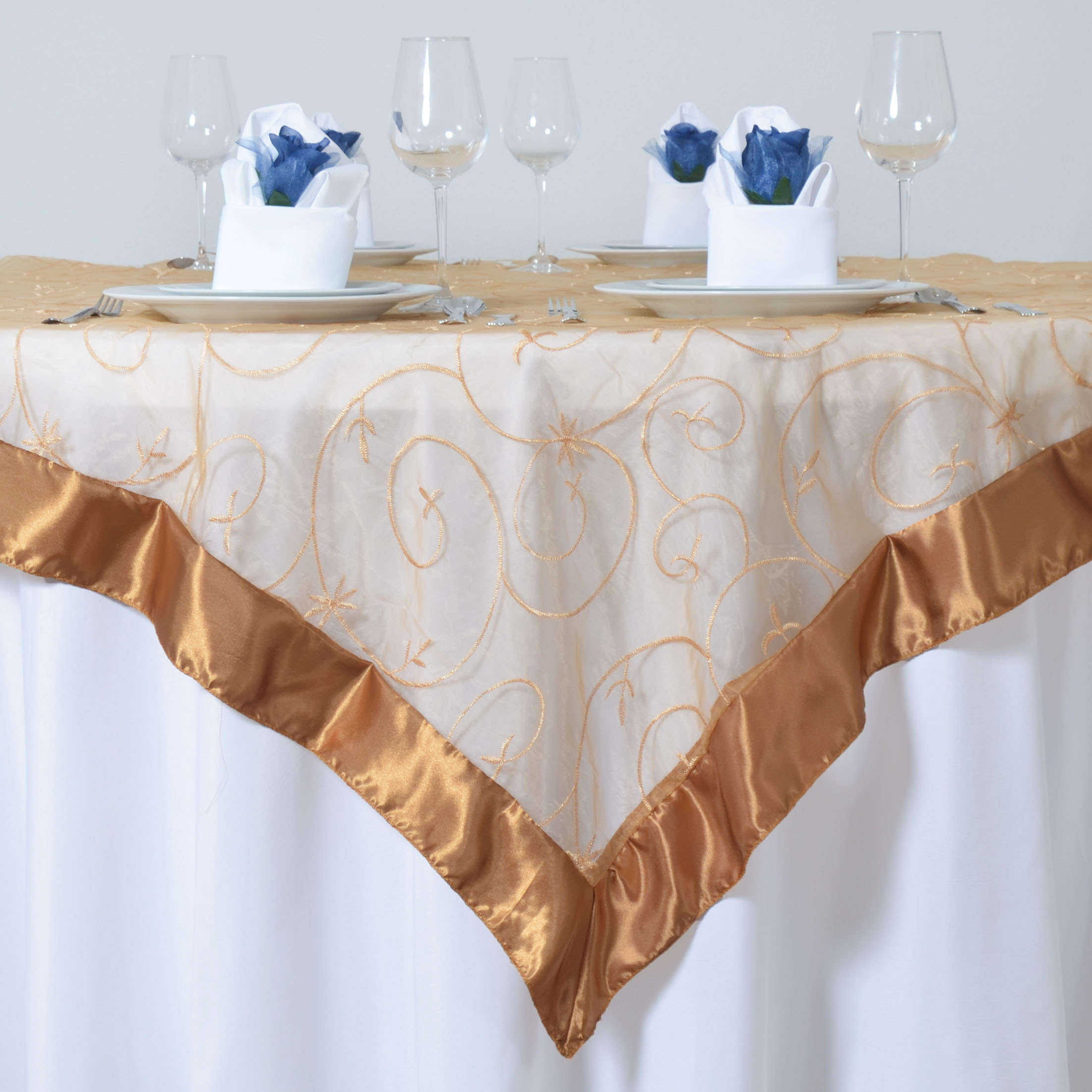 10 Embroidered Organza 85x85 Square Large Table Overlays Wedding