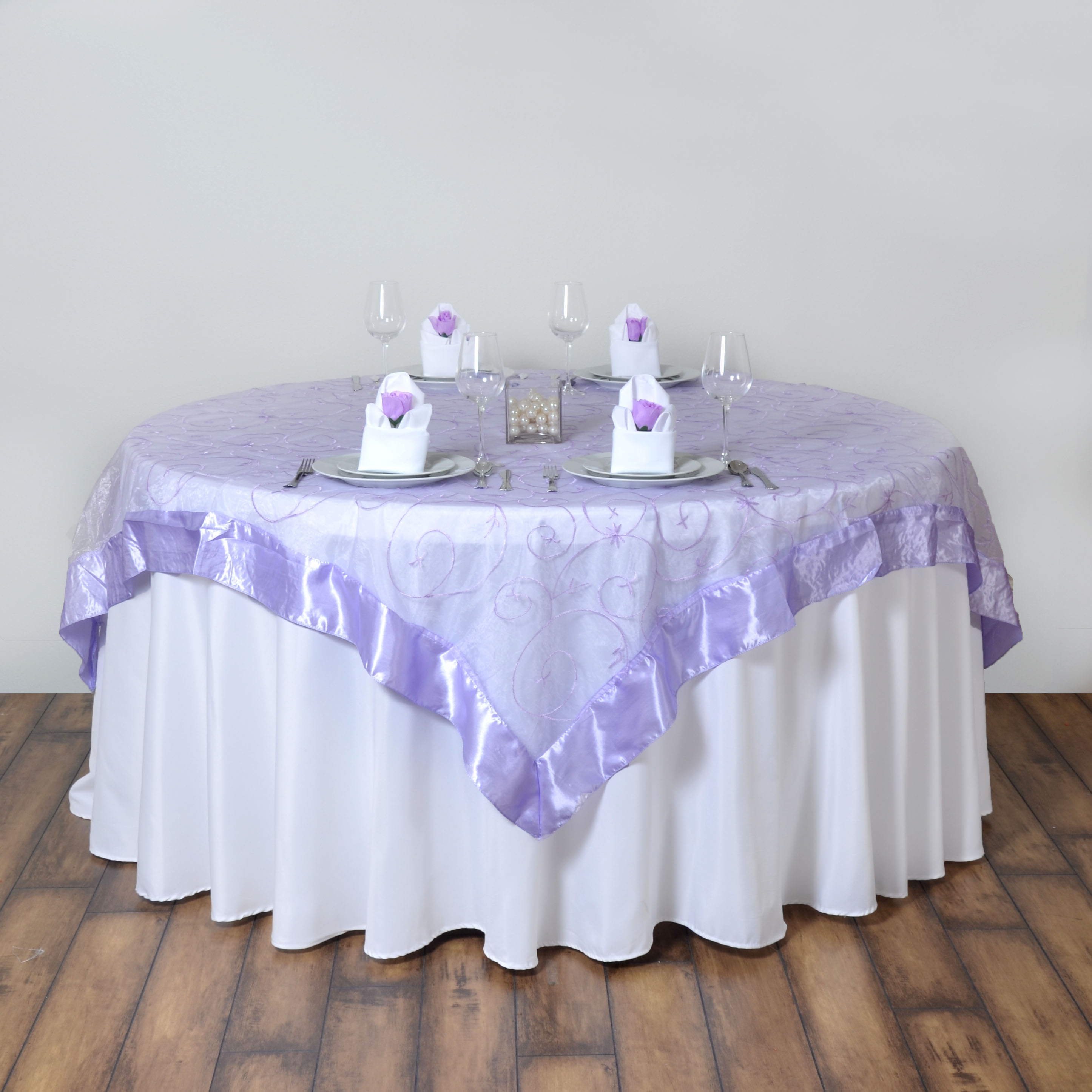 Lavender embroidered organza 85x85 square large table overlay store pages junglespirit