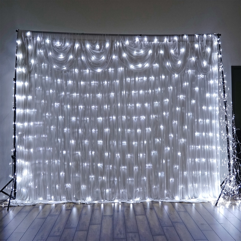 20 Ft X 10 Ft White Led Lights Backdrop Wedding Party