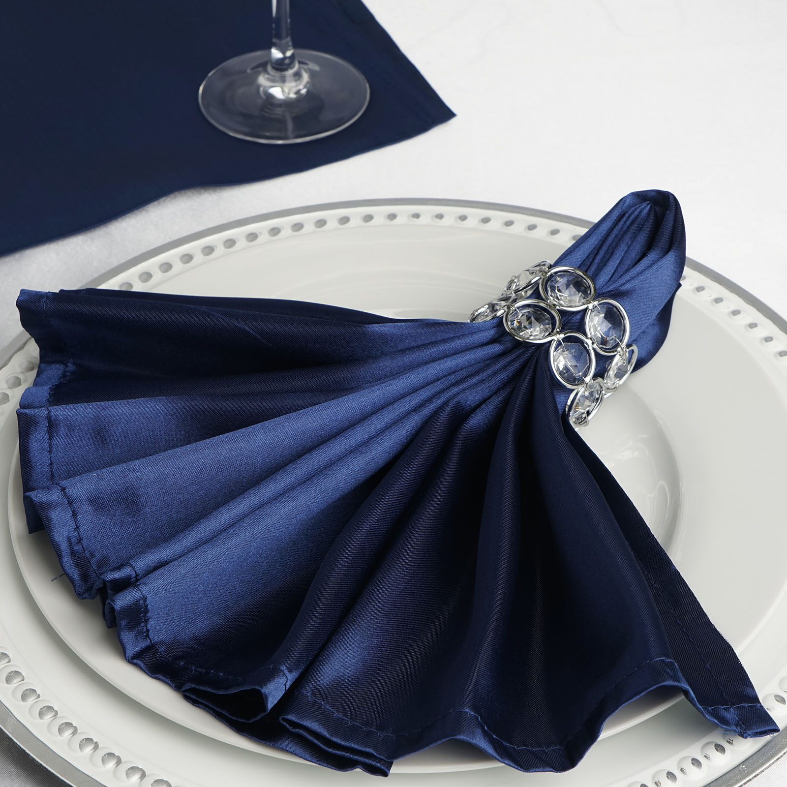 10 Navy Blue Silky Satin 20x20 Wedding Napkins Party Table Linens Catering Ebay