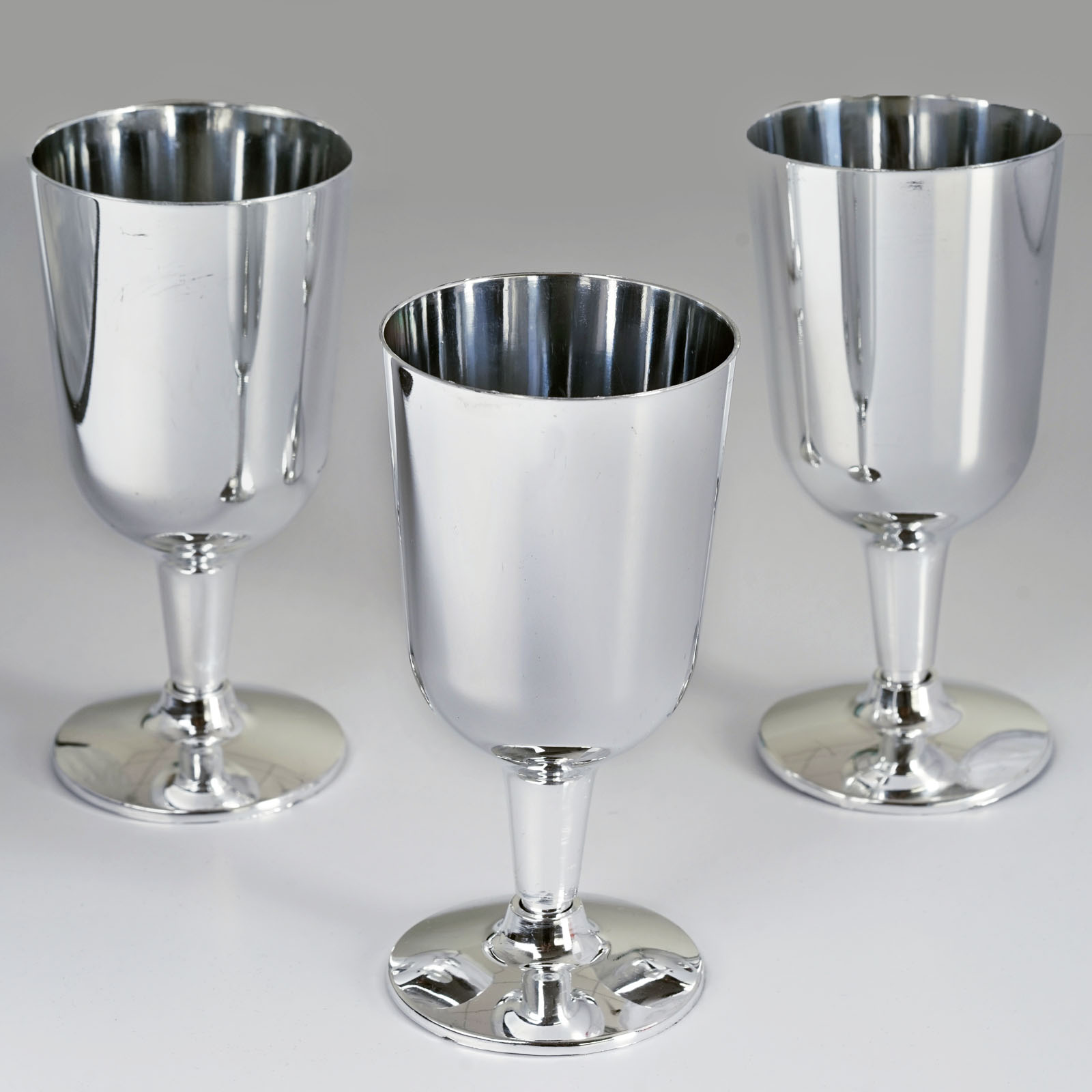 Plastic SILVER Rimmed CLEAR TALL Champagne GLASSES CUPS Gray Party Disposable