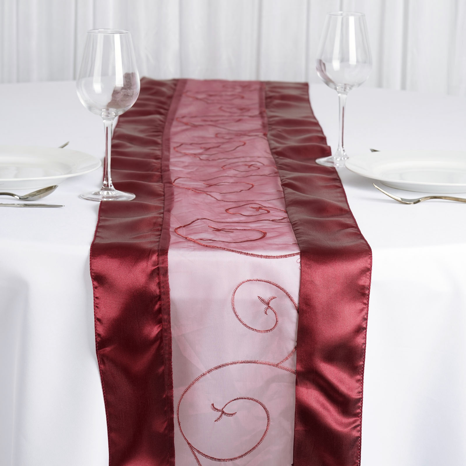 Details About Burgundy EMBROIDERED TABLE RUNNER Fancy Wedding Party  Catering Linens SALE