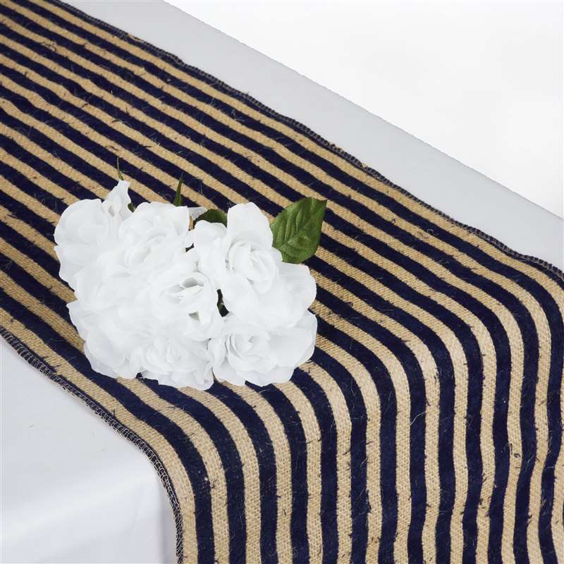 6 X BURLAP STRIPES TABLE RUNNERS 14x108 034