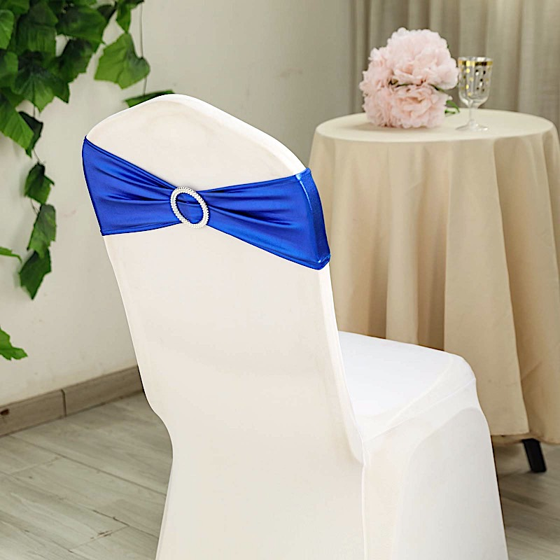 Details About 10 Royal Blue Metallic Spandex Chair Sashes Silver Buckles Wedding Decorations