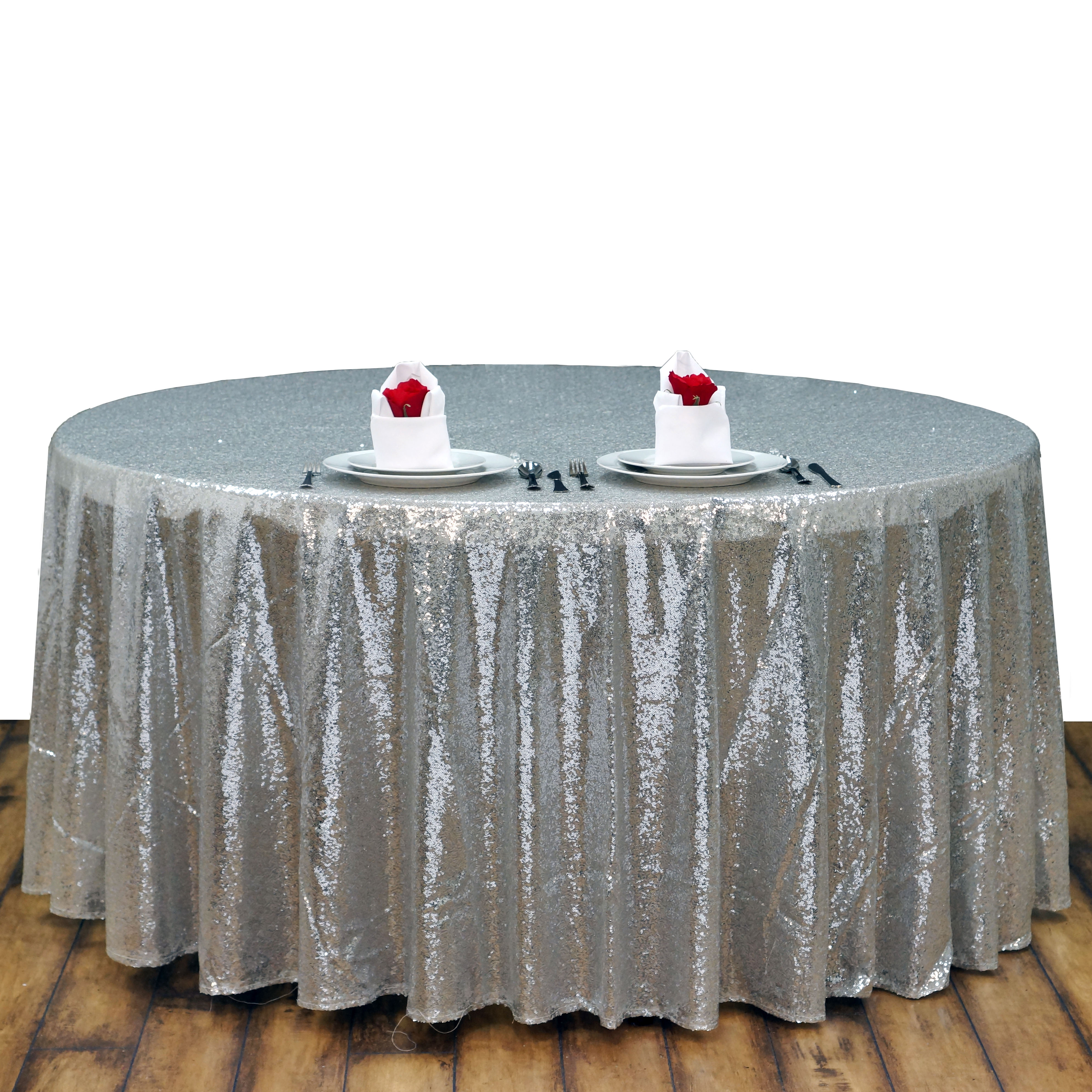 "108"" Silver SEQUIN ROUND TABLECLOTH Wedding Party Catering ..."