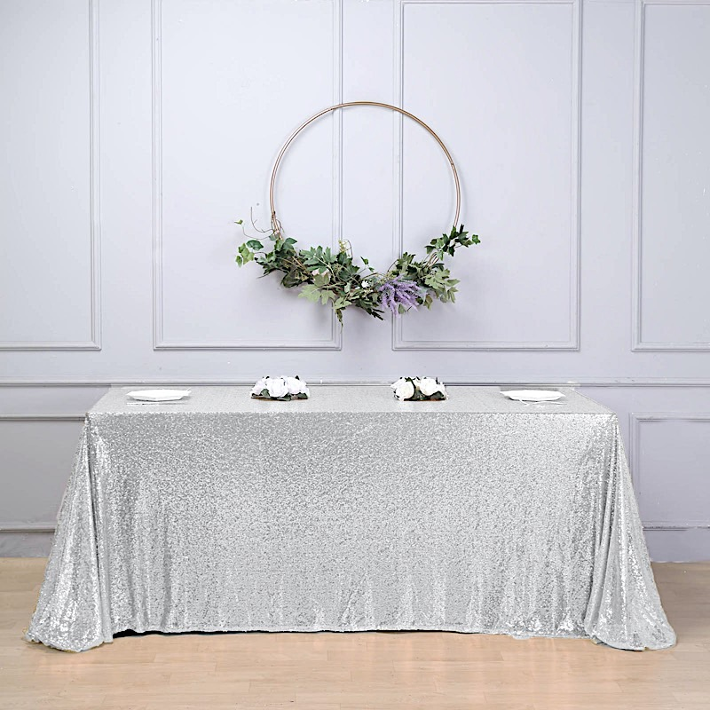 "90x156"" Silver SEQUIN RECTANGLE TABLECLOTH Wedding Party ..."