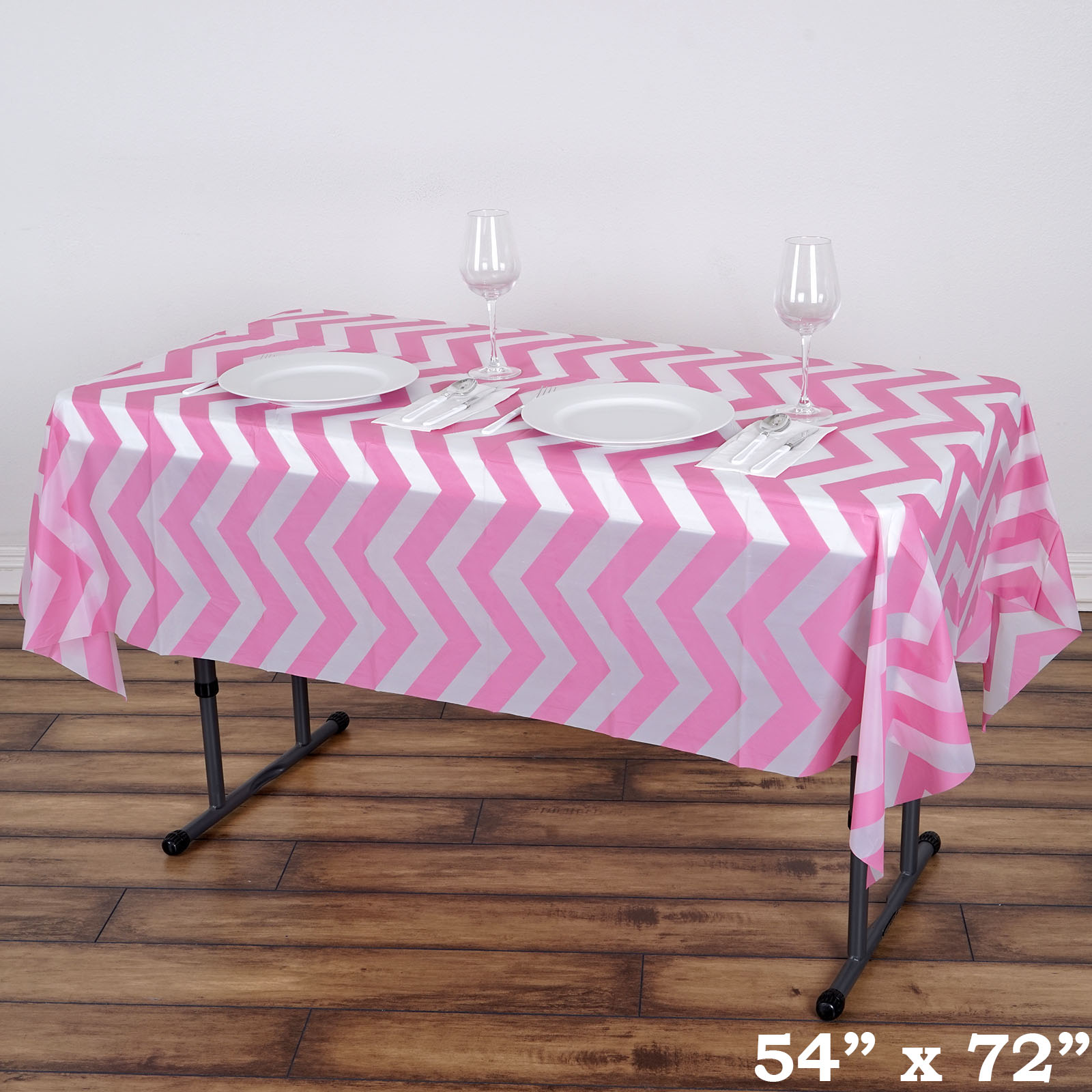 Pink Rectangle 54x72 Chevron Disposable Plastic Tablecloth Table