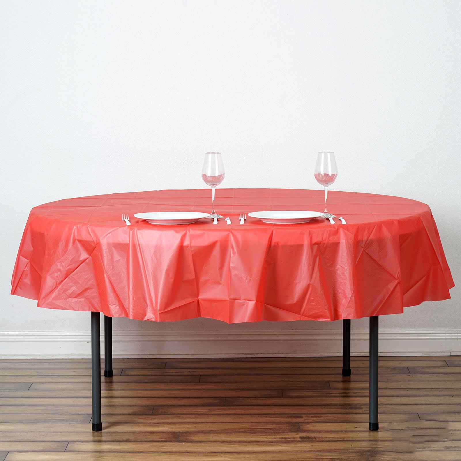 """White ROUND 84/"""" Disposable Plastic Tablecloth Table Cover Affordable Wholesale"""