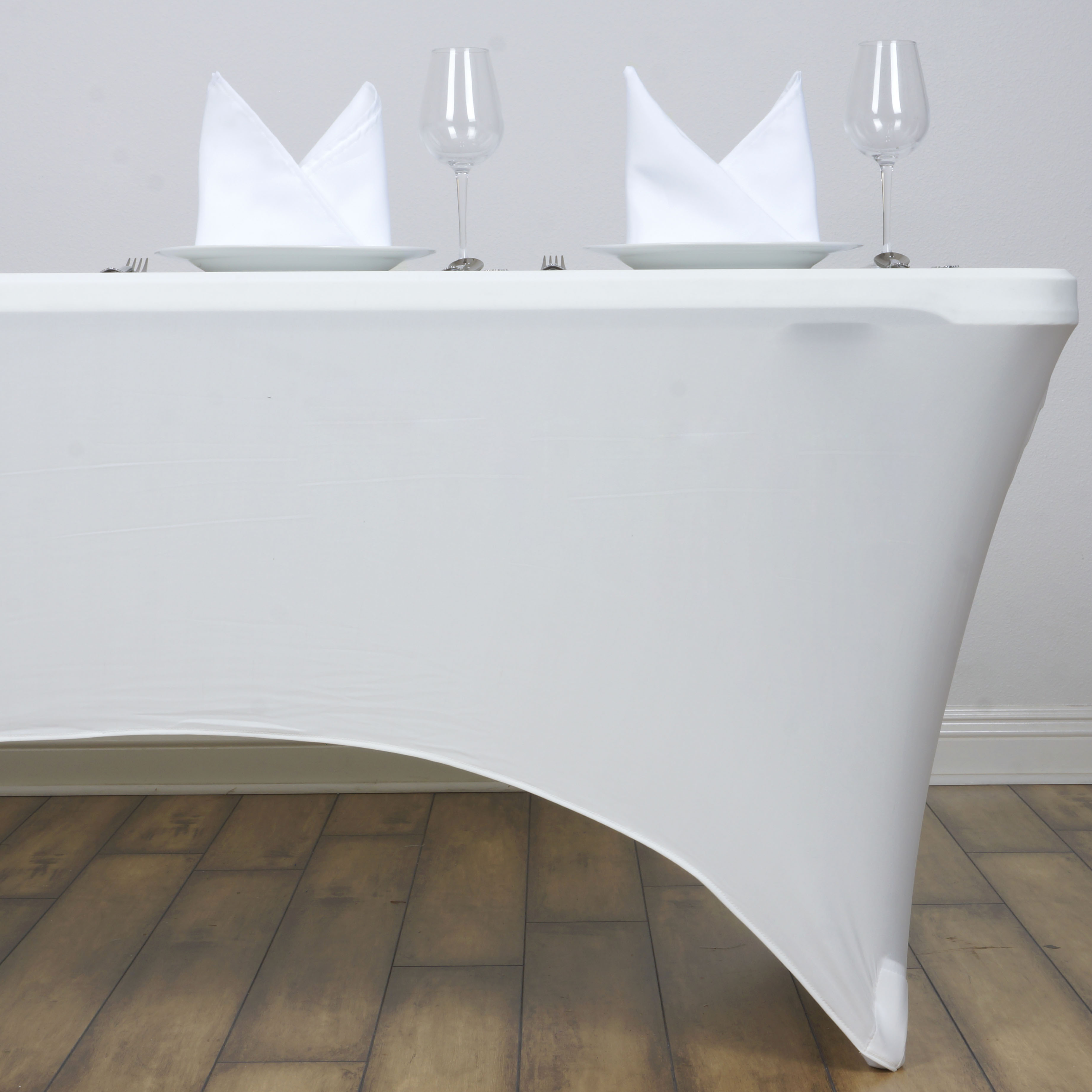 ivory 8 ft rectangle spandex stretch table cover fitted tablecloth wedding party ebay. Black Bedroom Furniture Sets. Home Design Ideas