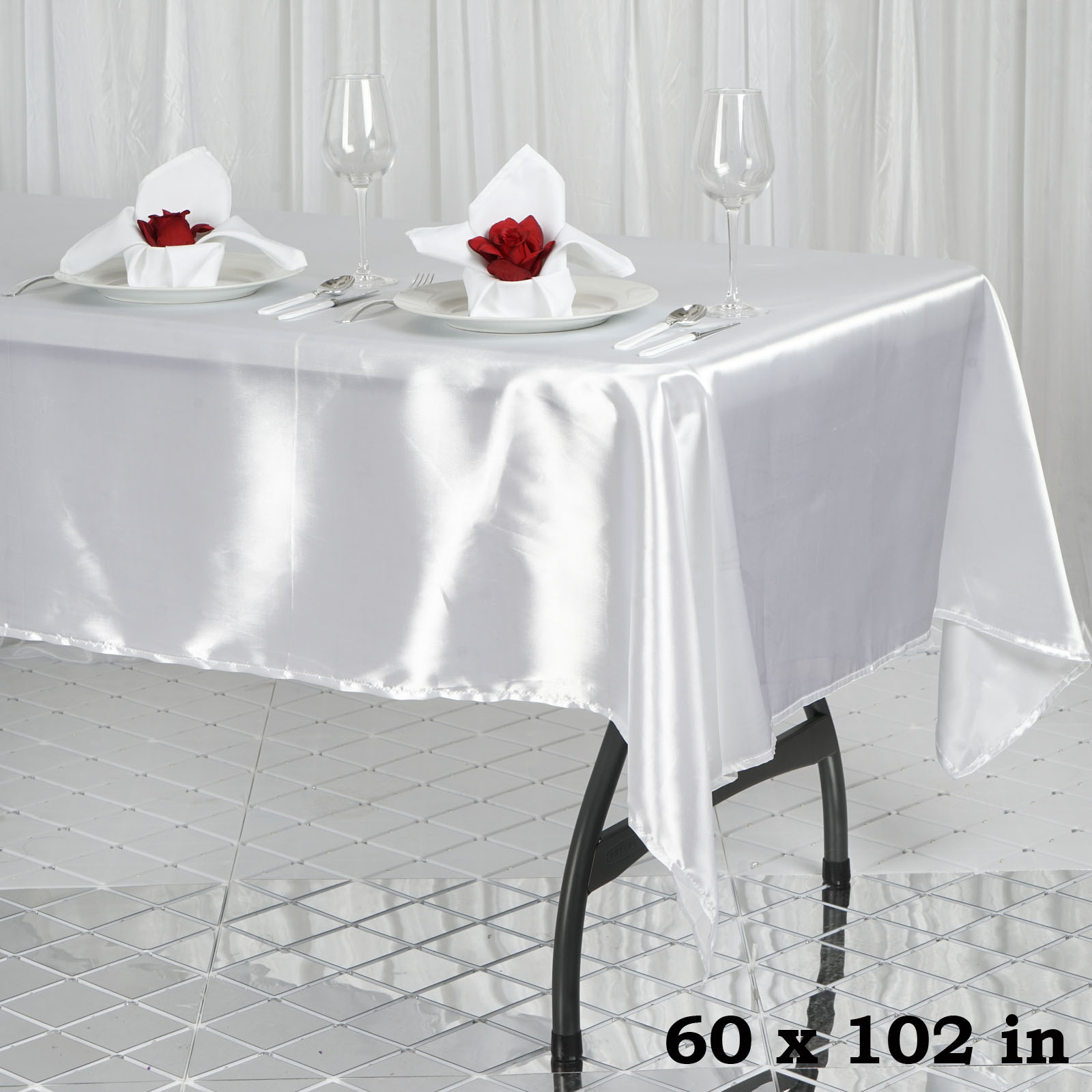 1 Pc White 60x102 Quot Rectangle Satin Tablecloth Wedding