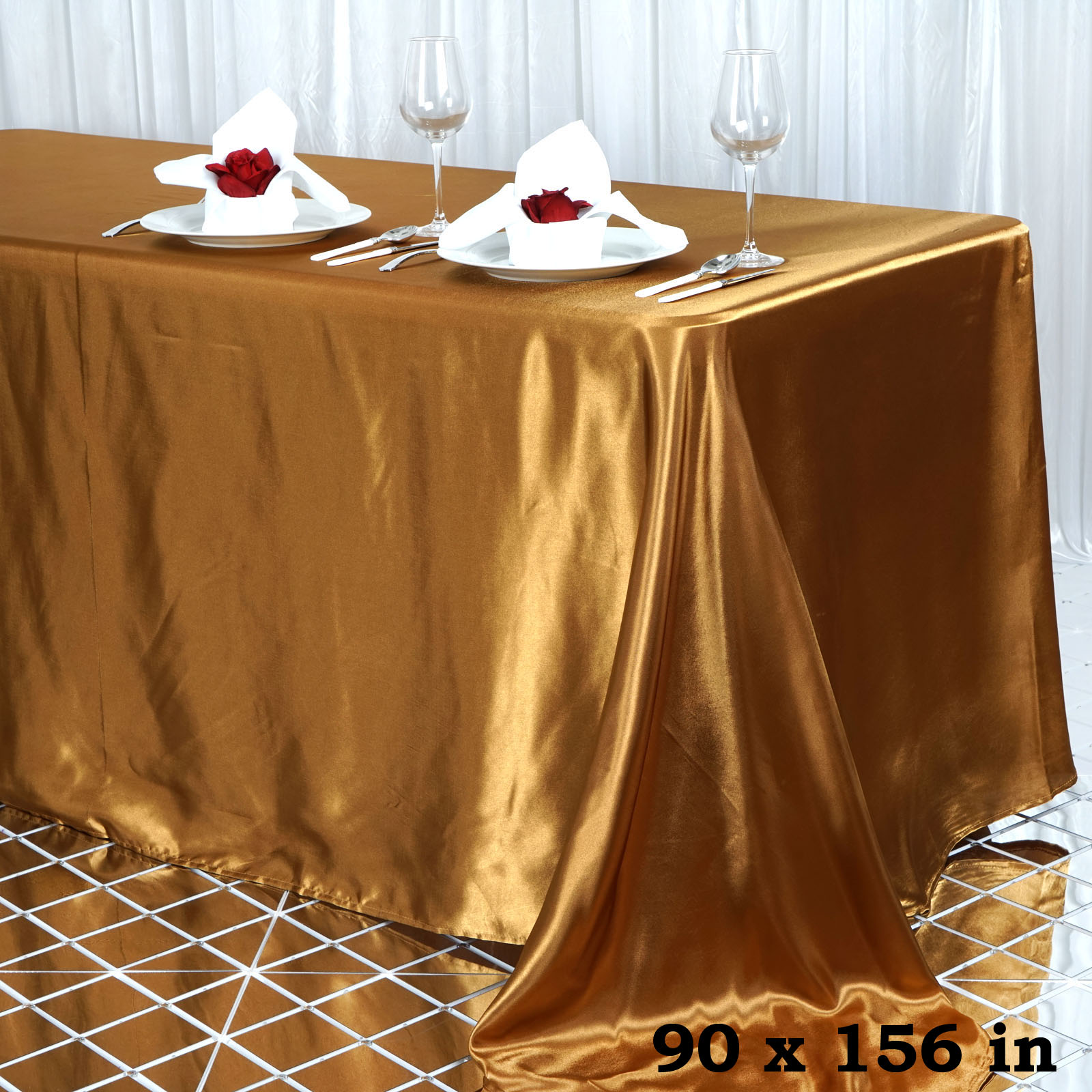 10 Pcs 90x156 Quot Rectangle Satin Tablecloths Wedding Party