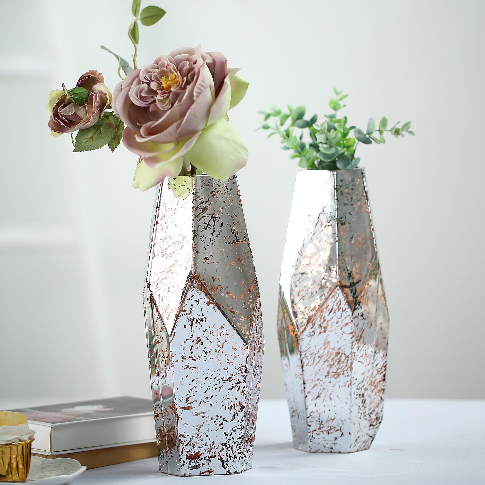 2 Silver Rose Gold 12 Tall Mercury Glass Geometric Pentagon Vases Centerpieces Ebay