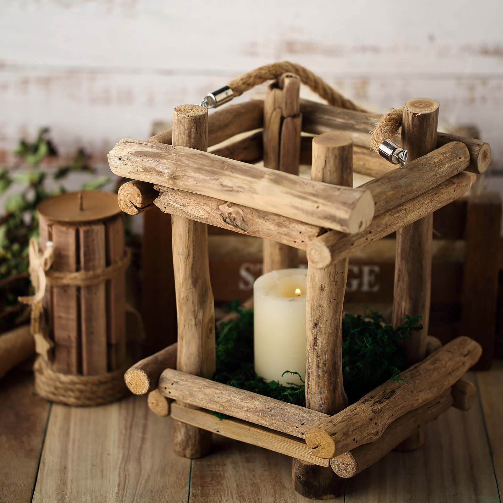 Natural 10 Tall Wood Candle Holder With Rope Handle Rustic Lantern Wedding Sale Ebay