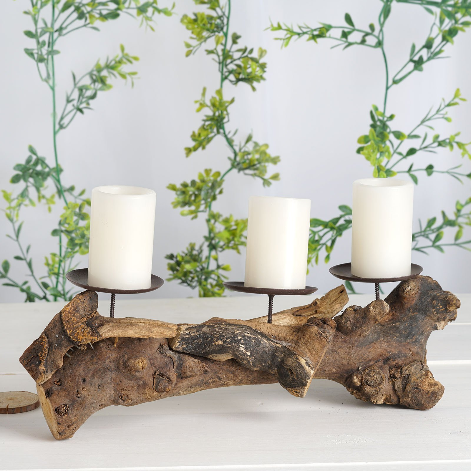 Brown 14 5 Long Natural Wood Rustic Candle Holder Stand Wedding Centerpieces Ebay