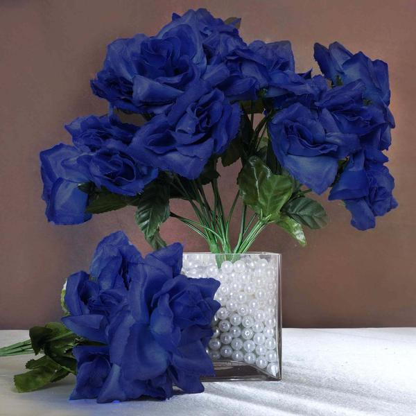eFavormart 84 Artificial Open Roses Wedding Flowers Bouquets - Royal ...