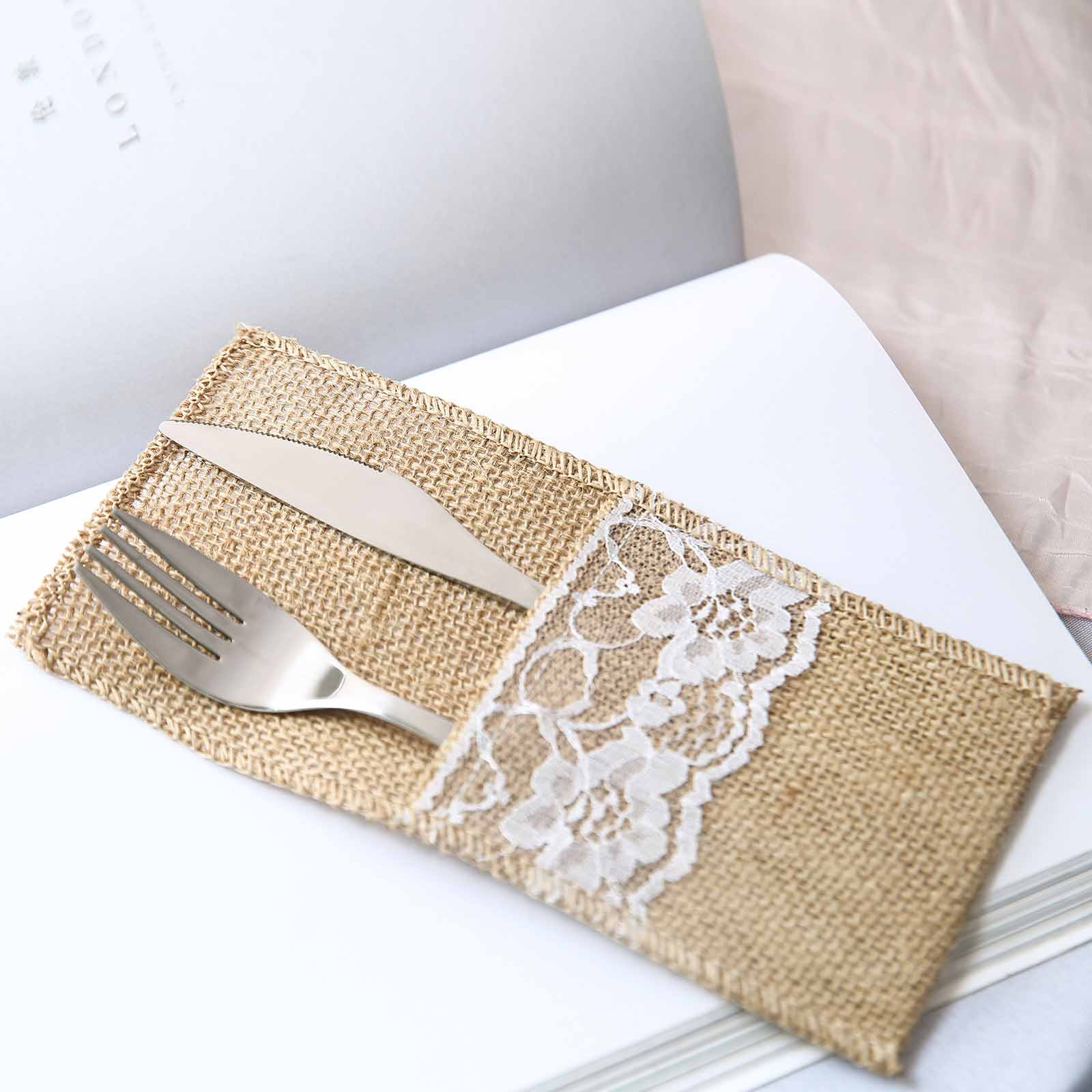 4 X8 Natural Burlap And Lace Napkin Holders For Wedding Party Favors Tableware Ebay