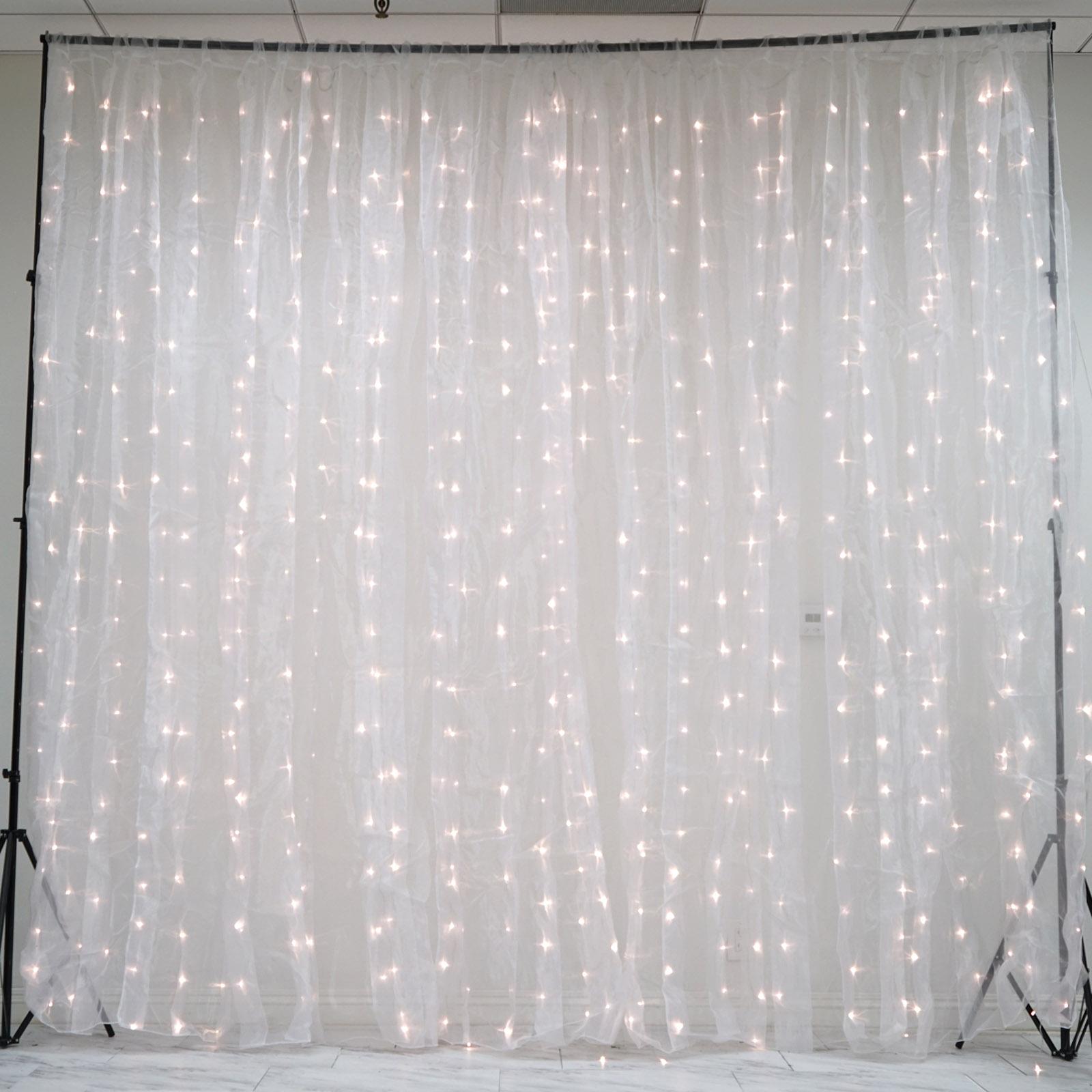 20ft X 10ft Led Lights Organza Backdrop Curtain Photobooth Wedding