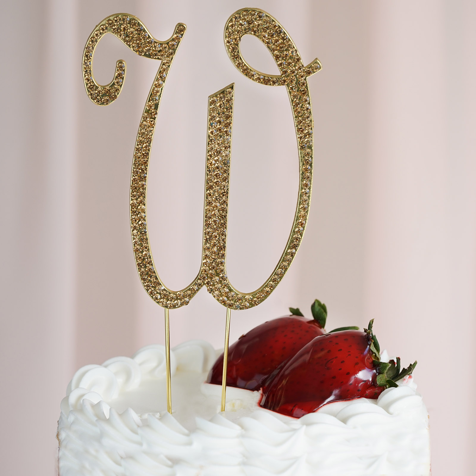 "4.5"" Tall Gold Crystal Rhinestone Cake Topper Wedding"
