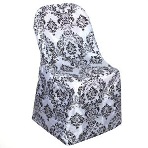 75 Folding CHAIR COVERS Black White Damask for Wedding