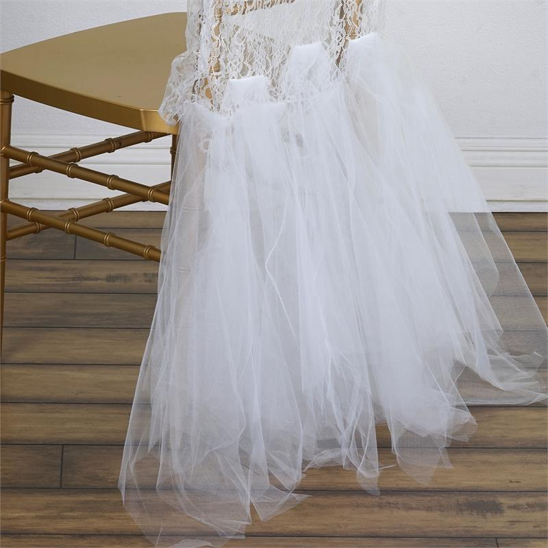 10 pcs Spandex with Tulle Tutu CHAIR SASHES Wedding Reception Party Supplies