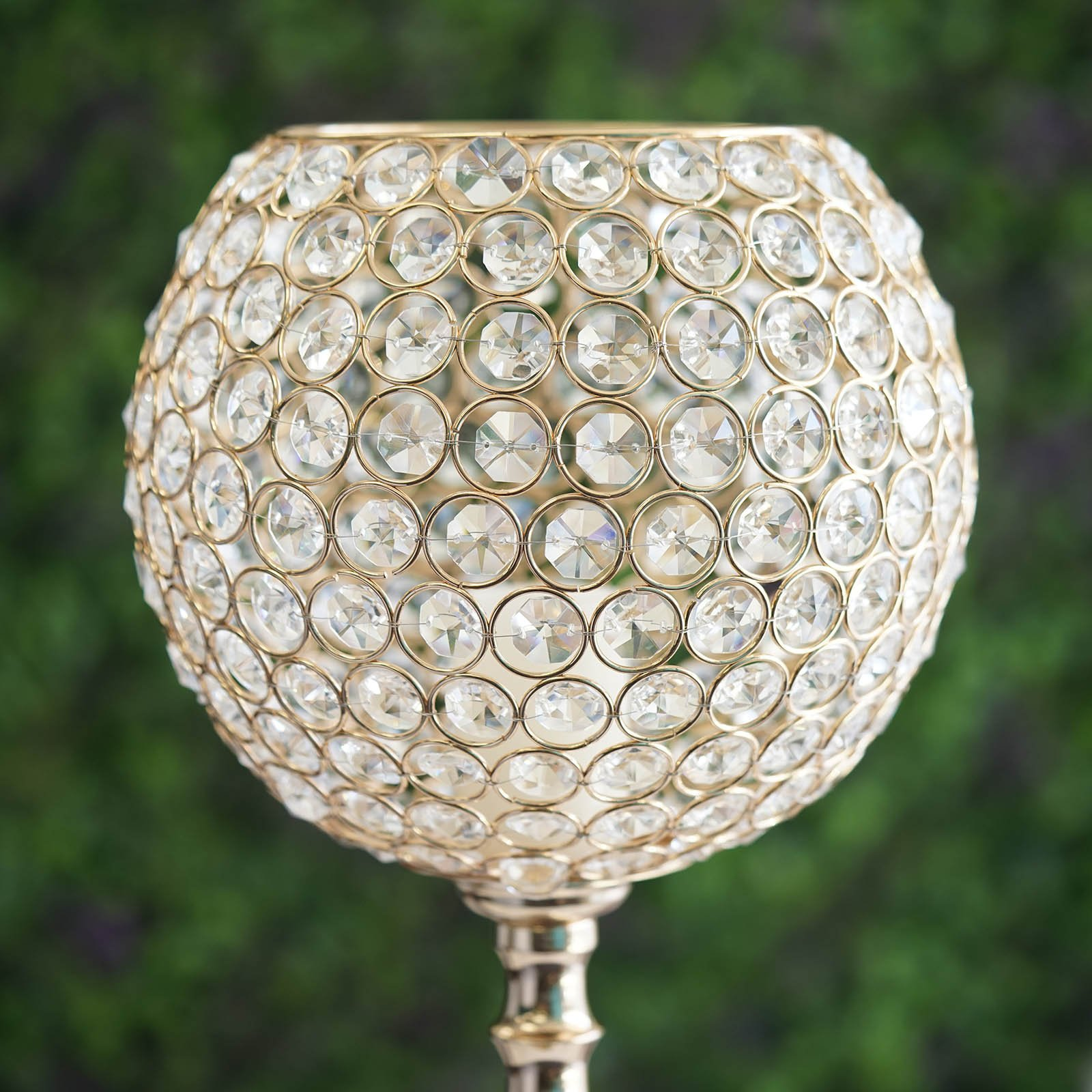 """30"""" tall Crystal Beaded Goblet Ball Candle Holder Wedding ..."""