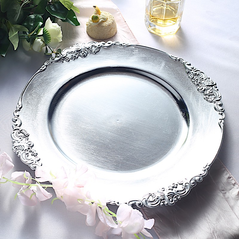 """24 pcs 13/"""" Round with Embossed Rim Charger Plates Wedding Table Top Decorations"""