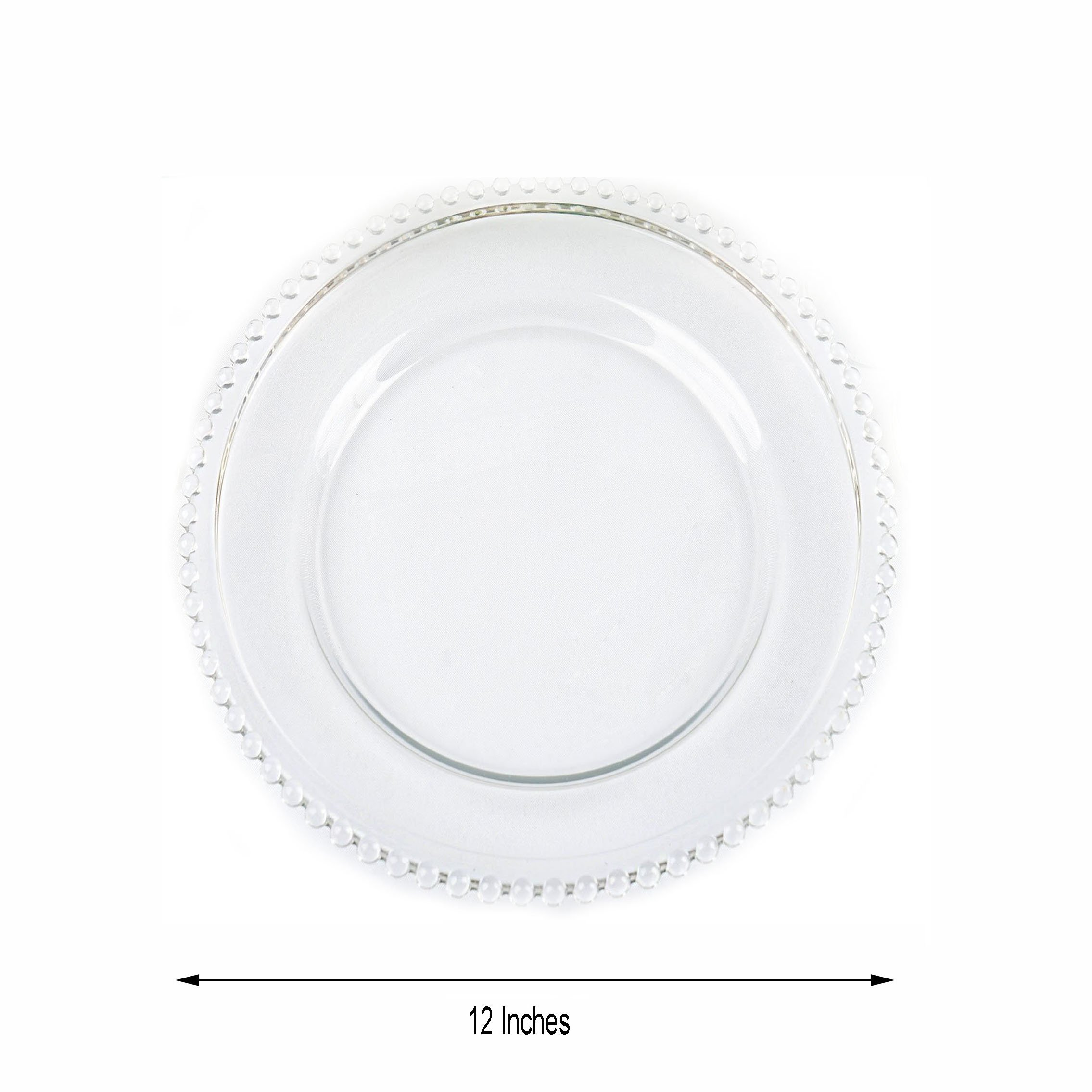 8 Pc 12 Glass Charger Plates Clear Beaded Rim Wedding Party Catering Table Sale Ebay
