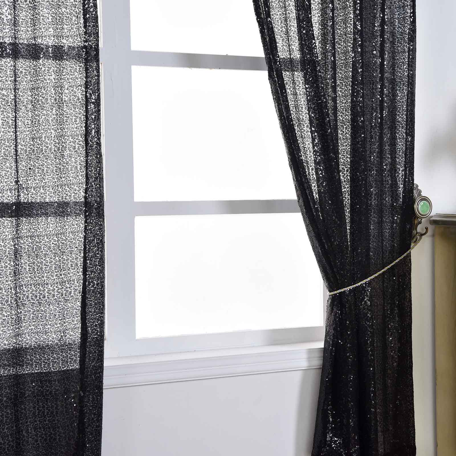 4-pcs-52-034-x-84-034-Sequined-Window-Curtains-Drapes-Panels-Backdrop-Home-Party-Decor thumbnail 6