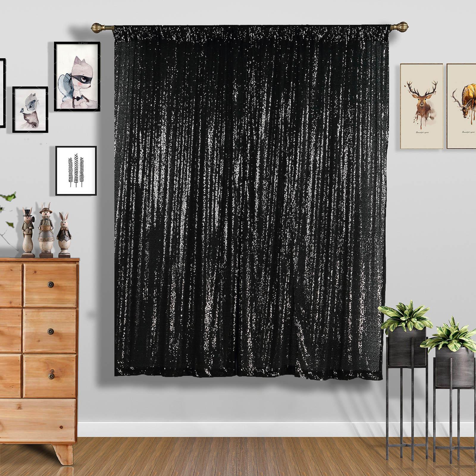 4-pcs-52-034-x-84-034-Sequined-Window-Curtains-Drapes-Panels-Backdrop-Home-Party-Decor thumbnail 5