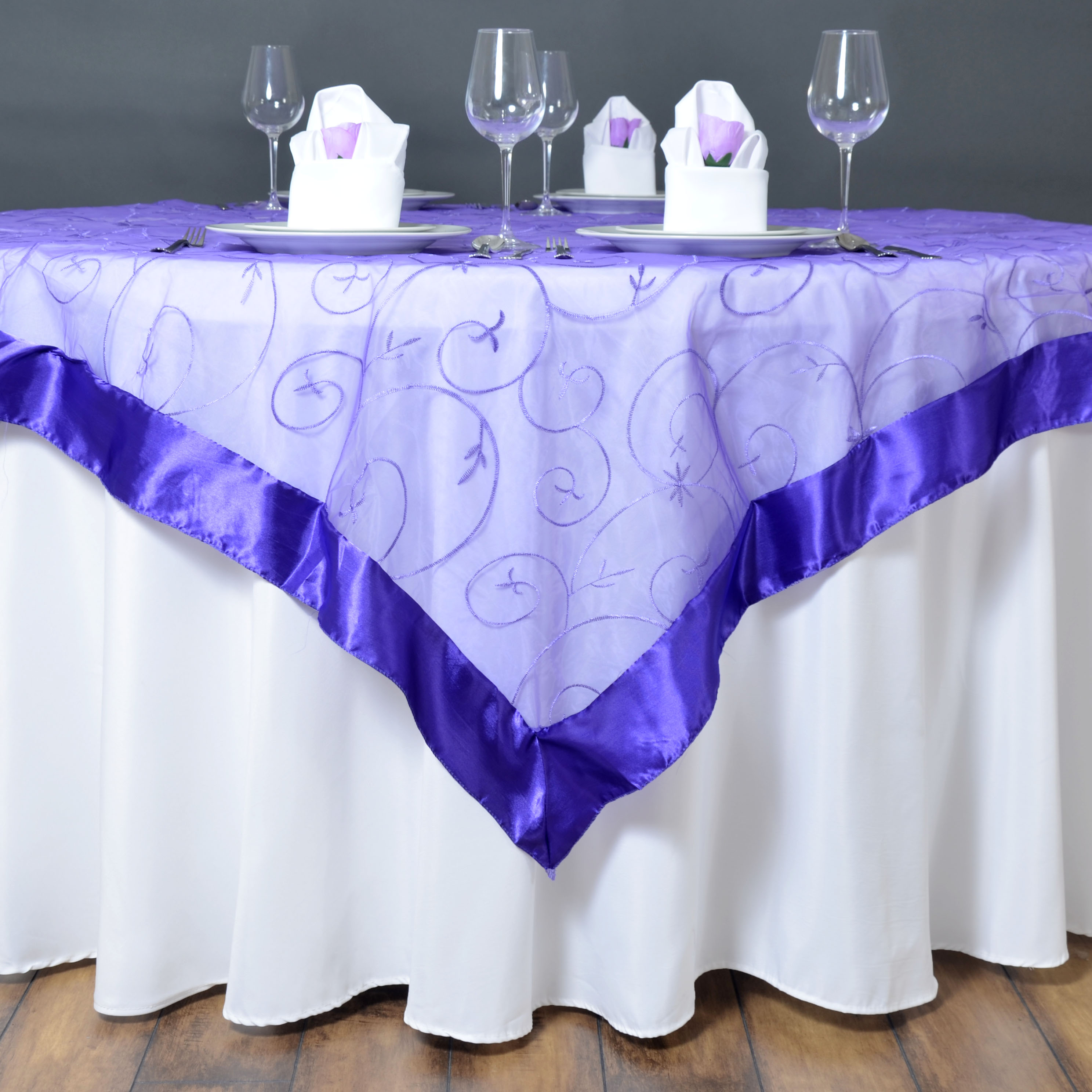 72x72 034 Embroidered Sheer Organza Table Overlay Unique
