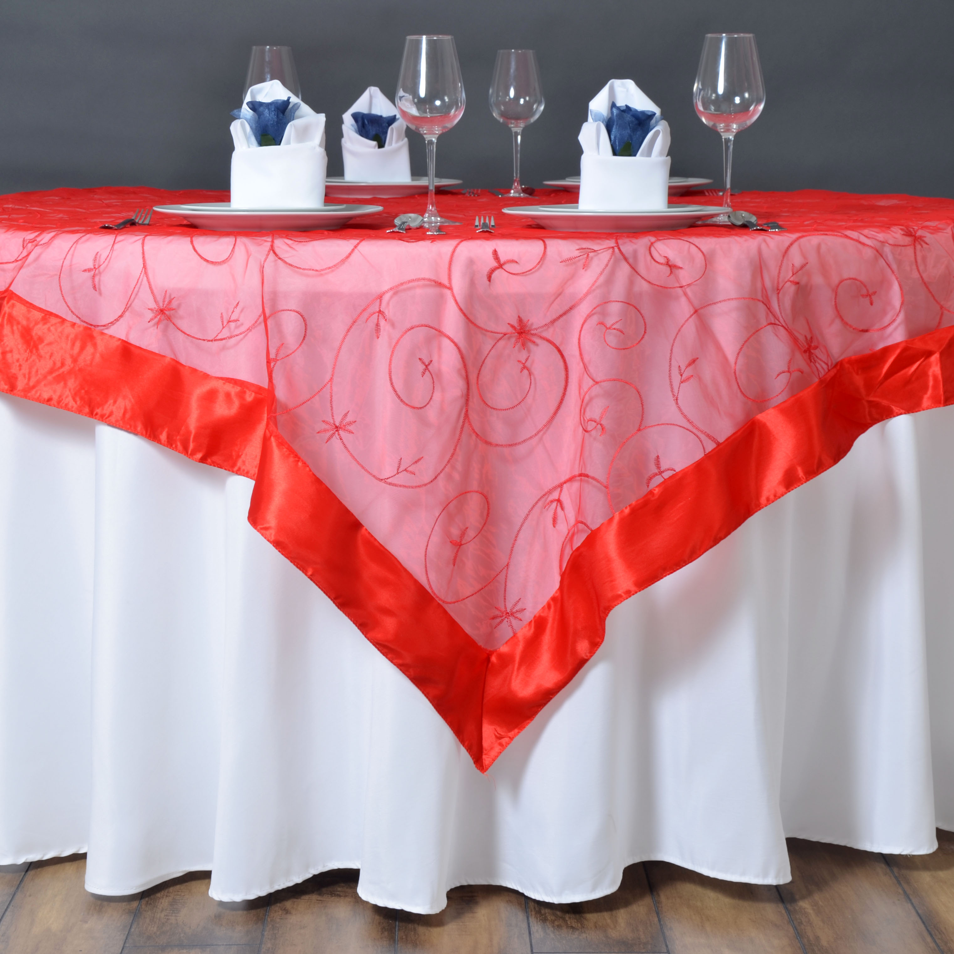 15 Pcs 85x85 034 Embroidered Sheer Organza TABLE