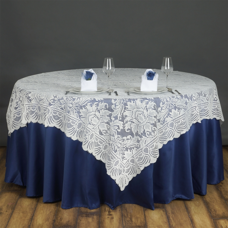 72x72 Ivory LACE Table Overlay with LARGE FLOWERS Wedding Party