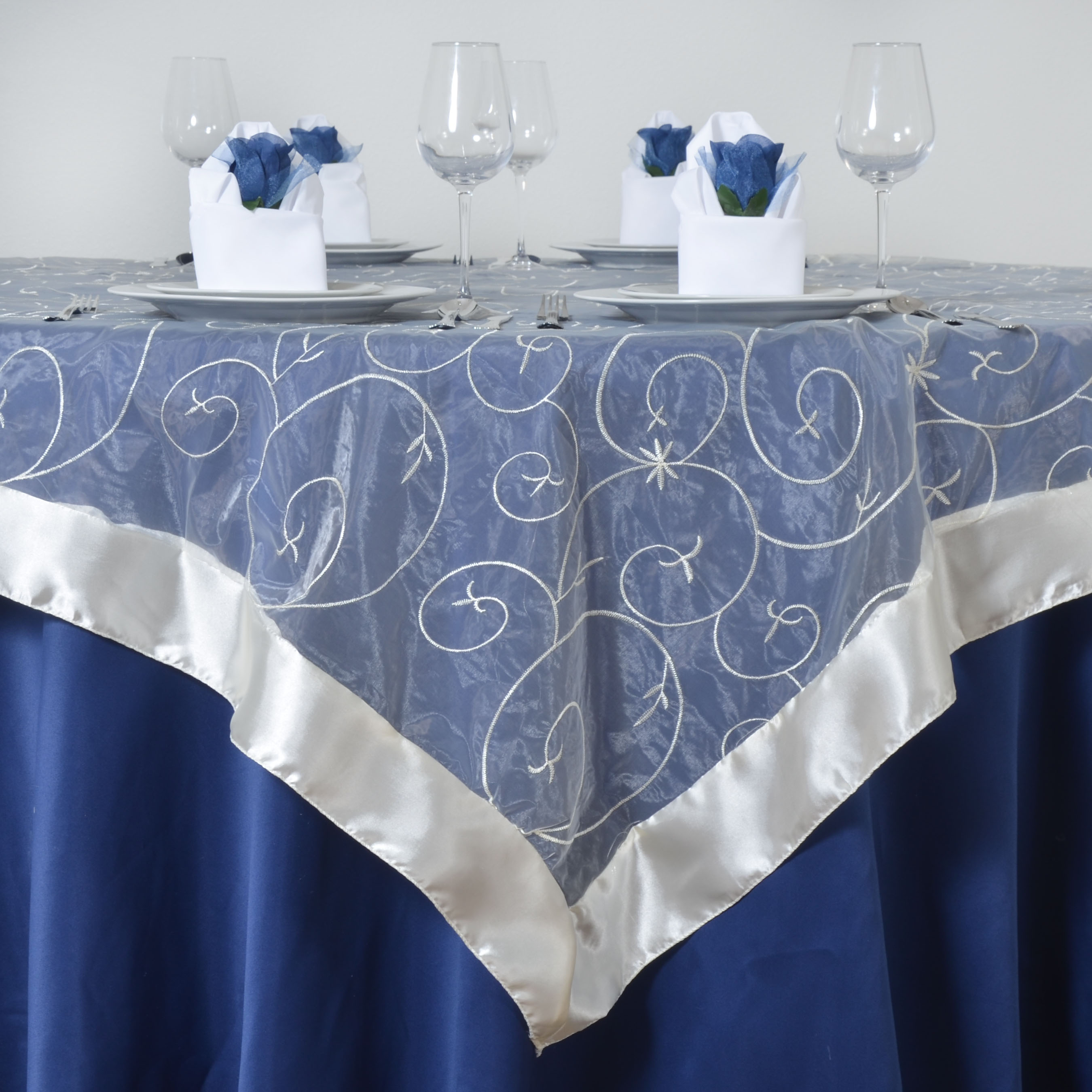 Embroidered Sheer Organza Table OVERLAYS Wedding Party