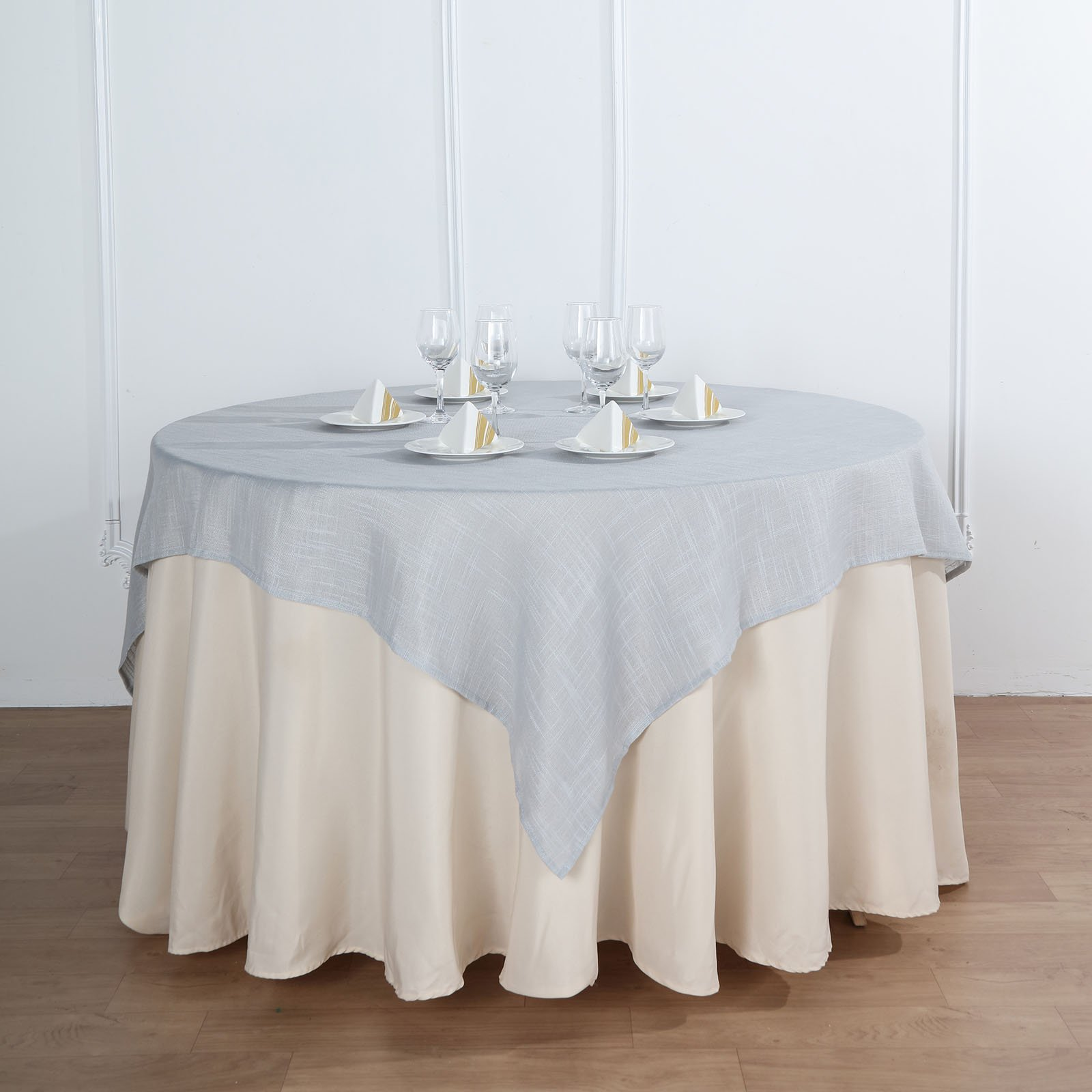 Silver 72x72 Square Table Overlay Premium Faux Burlap Polyester Wedding Ebay