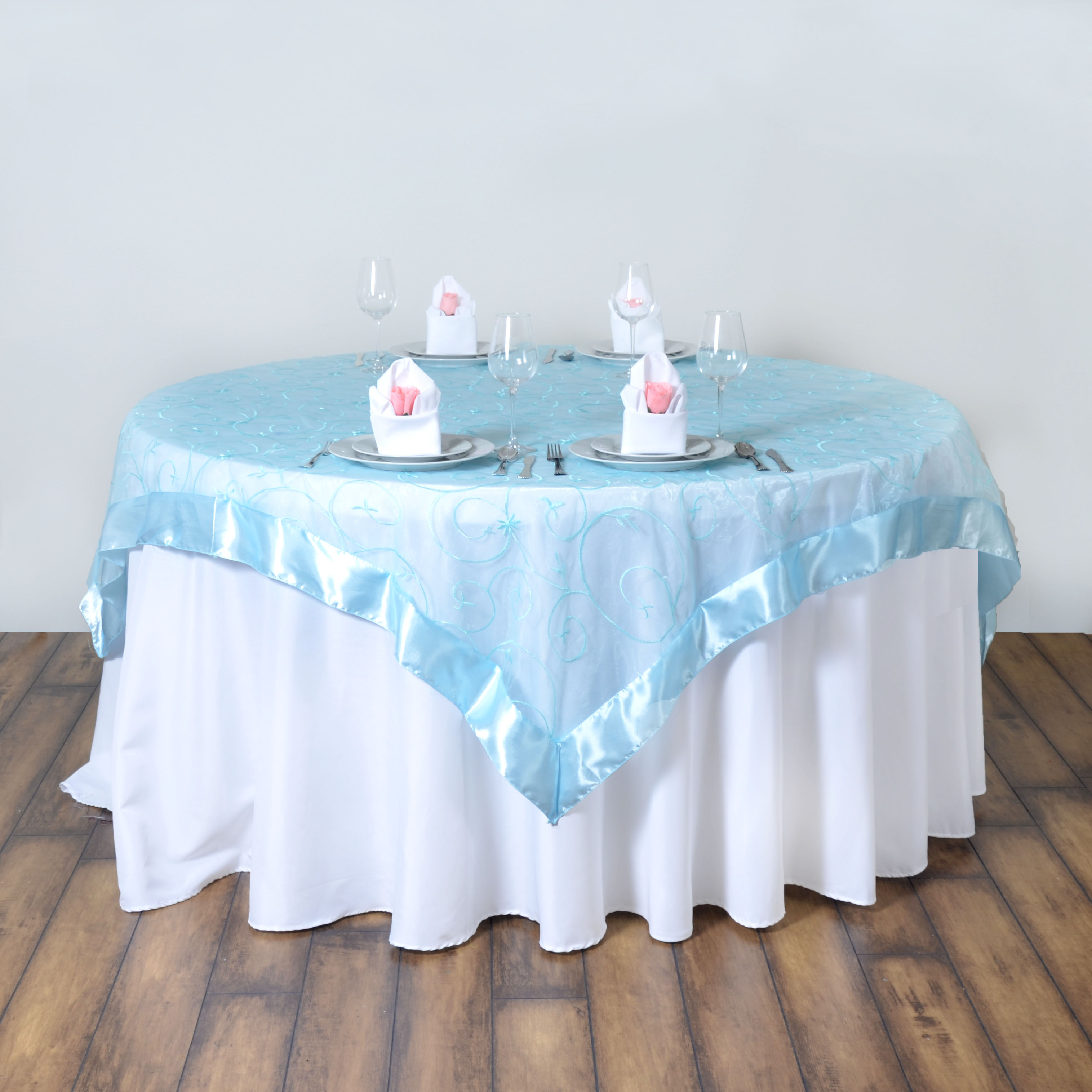 "60x60"" Embroidered Sheer Organza Table OVERLAY Unique"