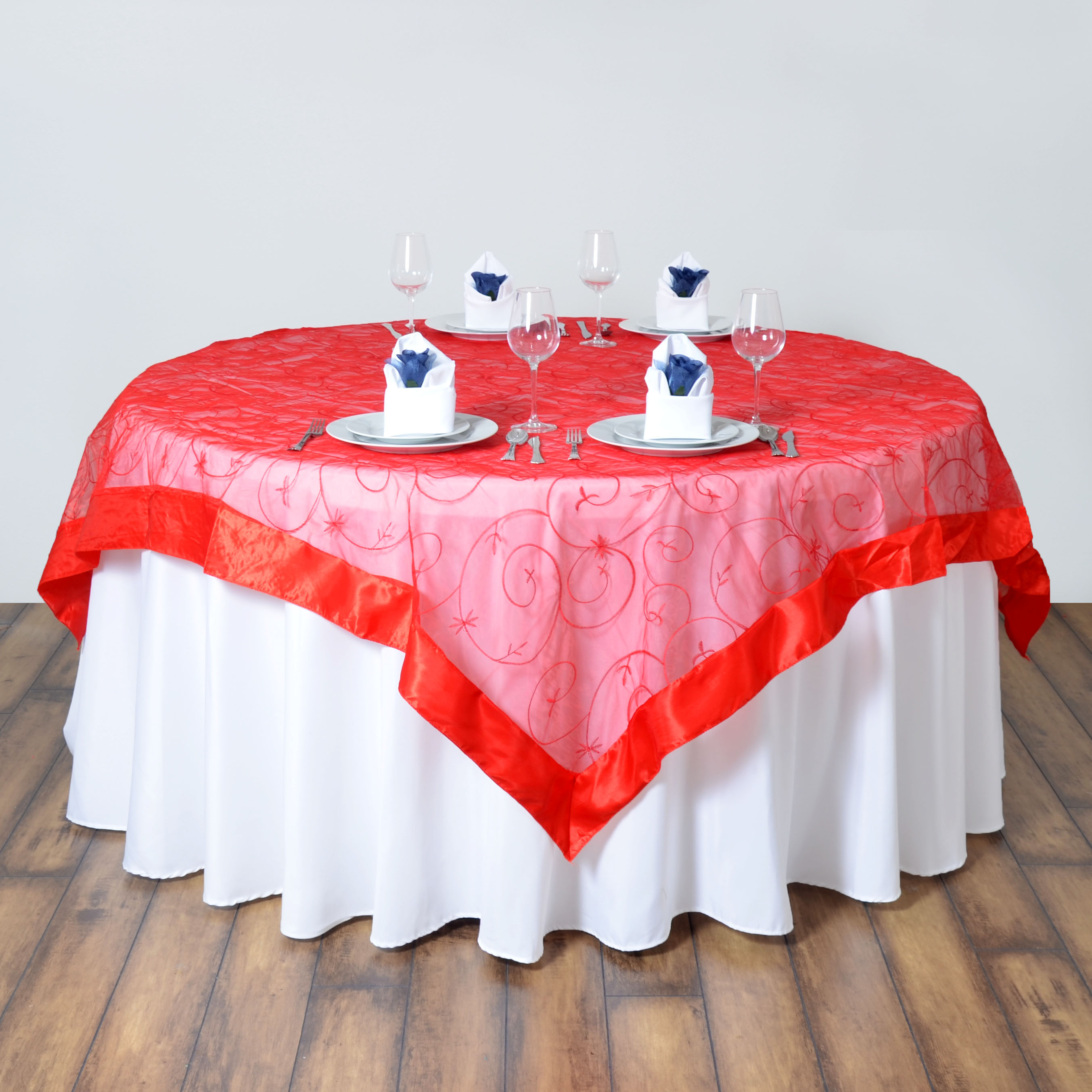 6 Pcs 72x72 Embroidered Sheer Organza Table Overlay Wedding Party
