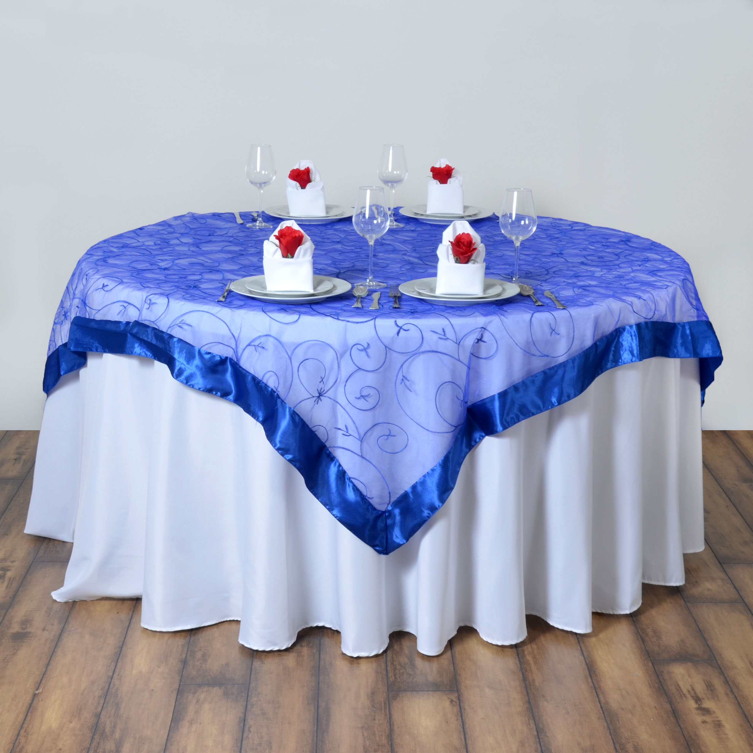 10 Pcs 60x60 Embroidered Sheer Organza Table Overlays Wedding Party