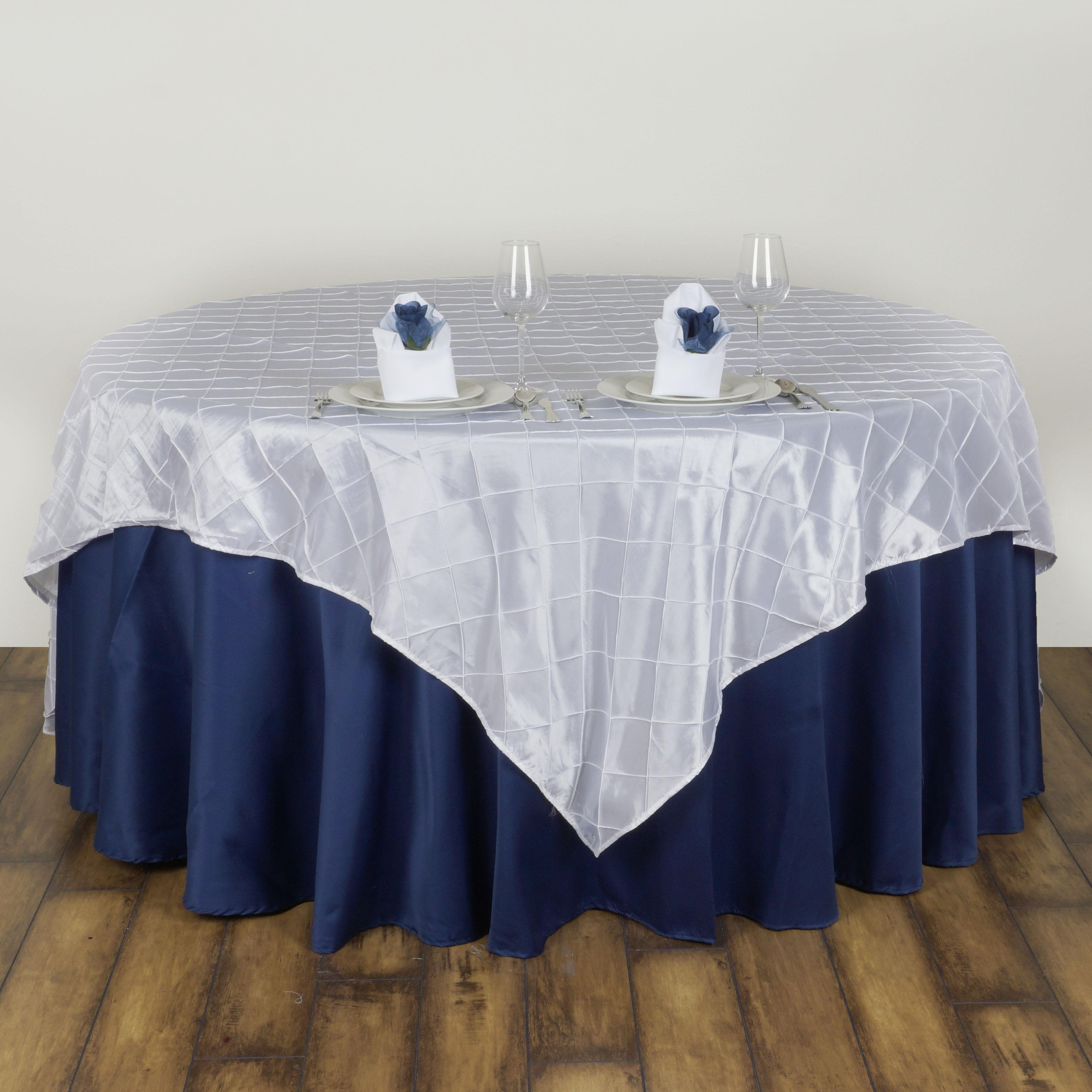 "Wedding Tablecloths: 6 Pcs 72x72"" Square Pintuck TABLE OVERLAYS Wedding Linens"