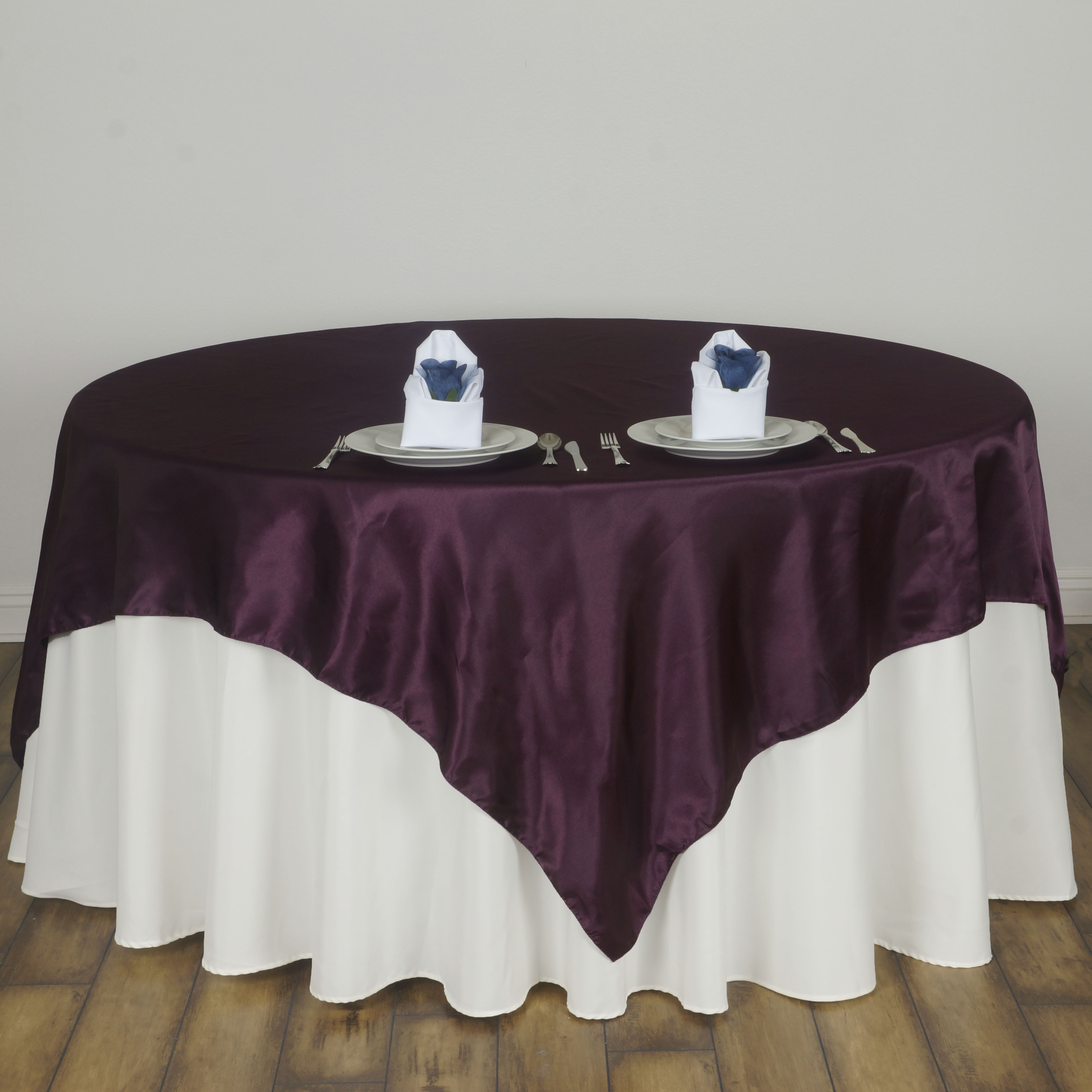 15 pack 60 square satin table overlays toppers wedding wholesale 15 pack 60 034 square satin table overlays junglespirit Image collections