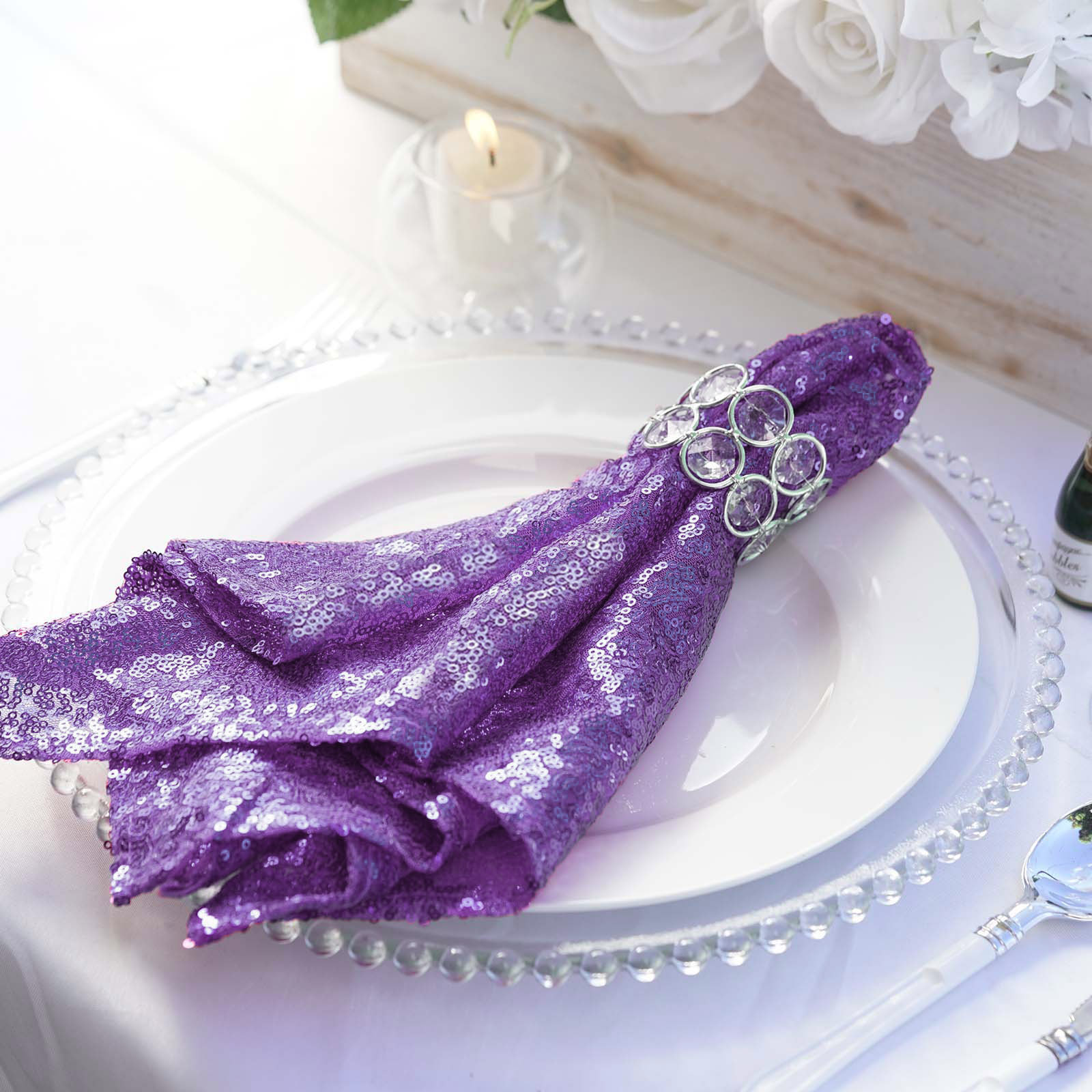 5 Purple Sequined 20x20 Wedding Napkins Party Table Linens Catering Supply Ebay