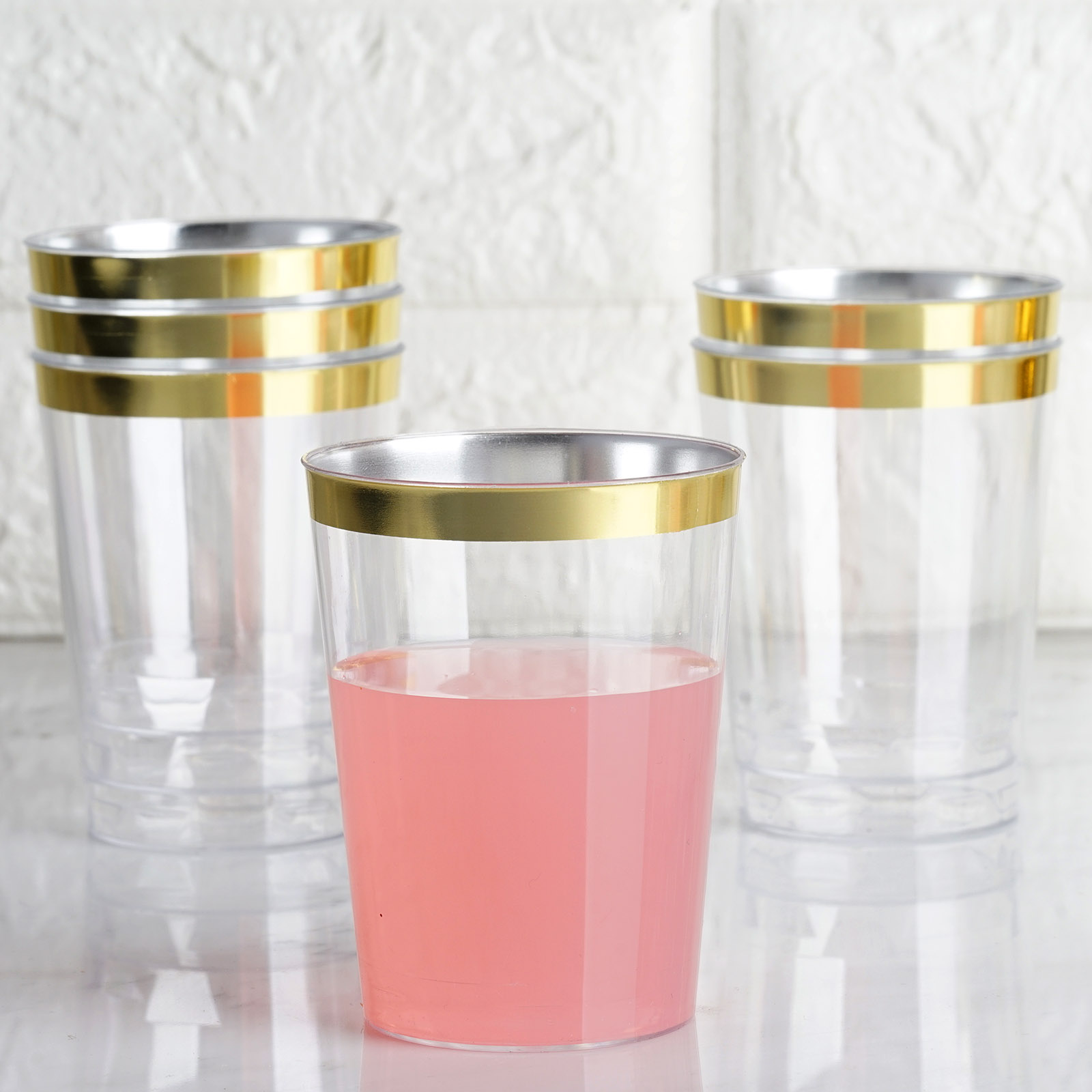 10 Oz Disposable Clear With Gold Rim Plastic Cups Wedding Party Tableware Sale Ebay